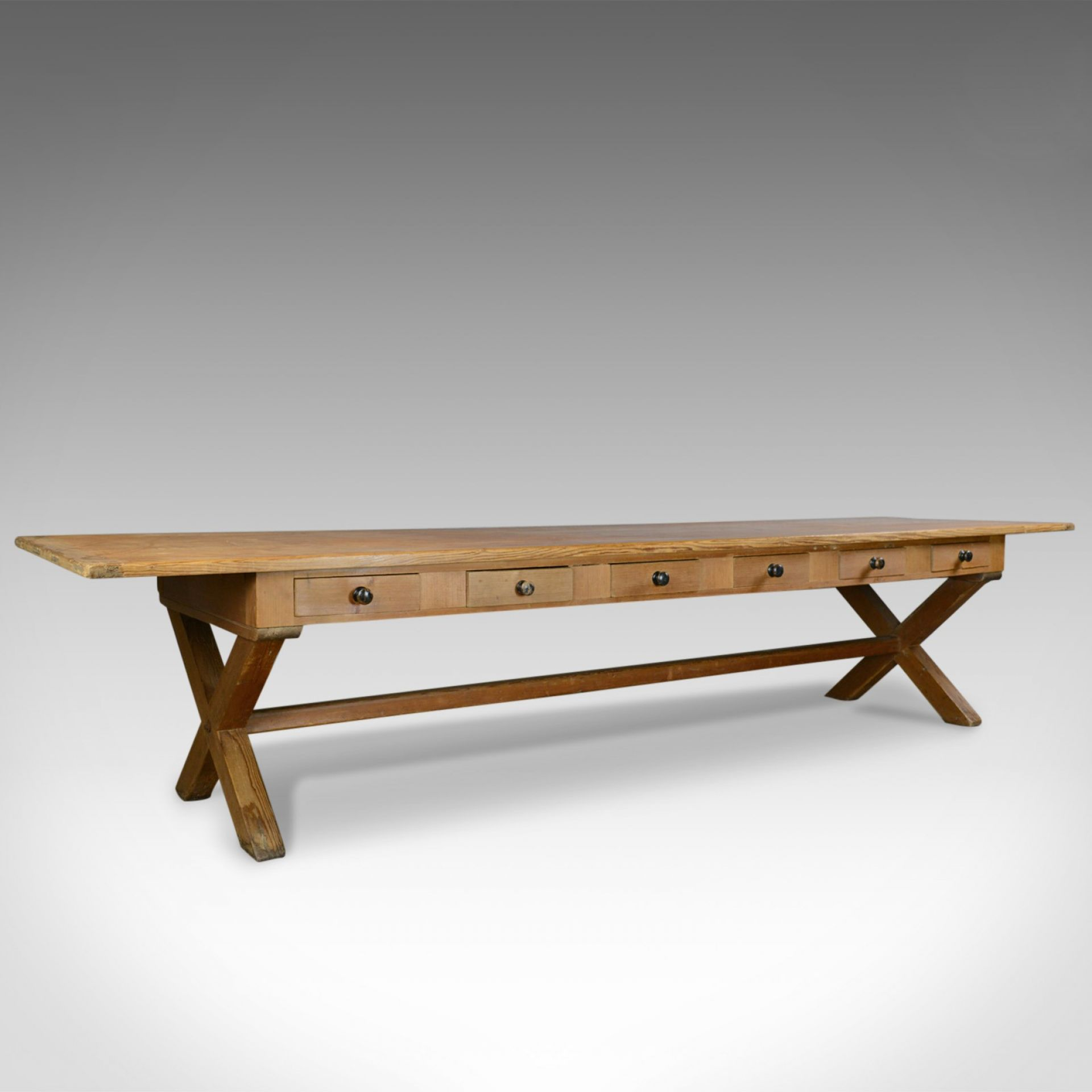 Large, 11ft, Antique Pine Refectory Table, Victorian Dining, Country House c1880