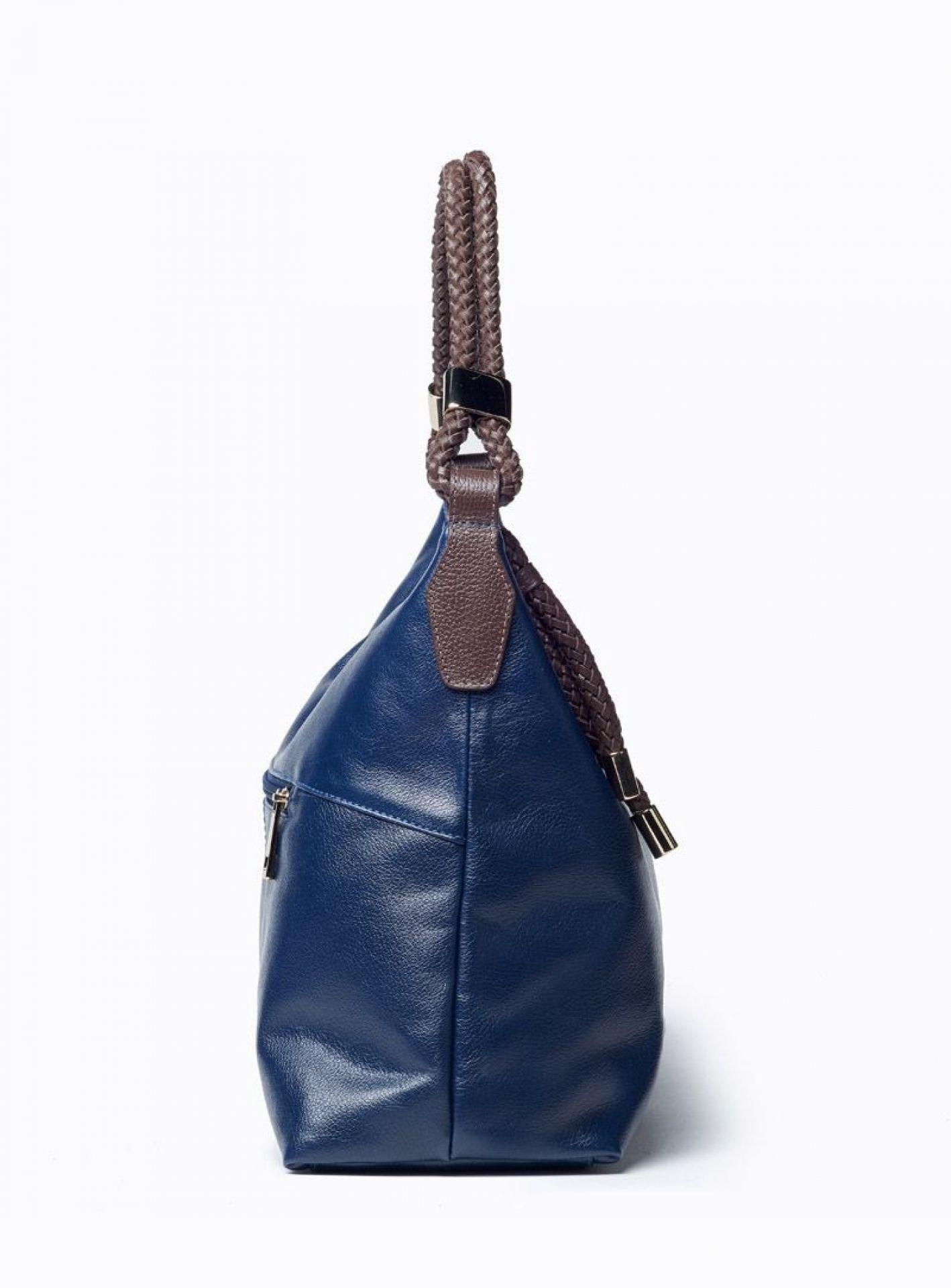 VIVER MOON NAVY LEATHER SHOULDER BAG