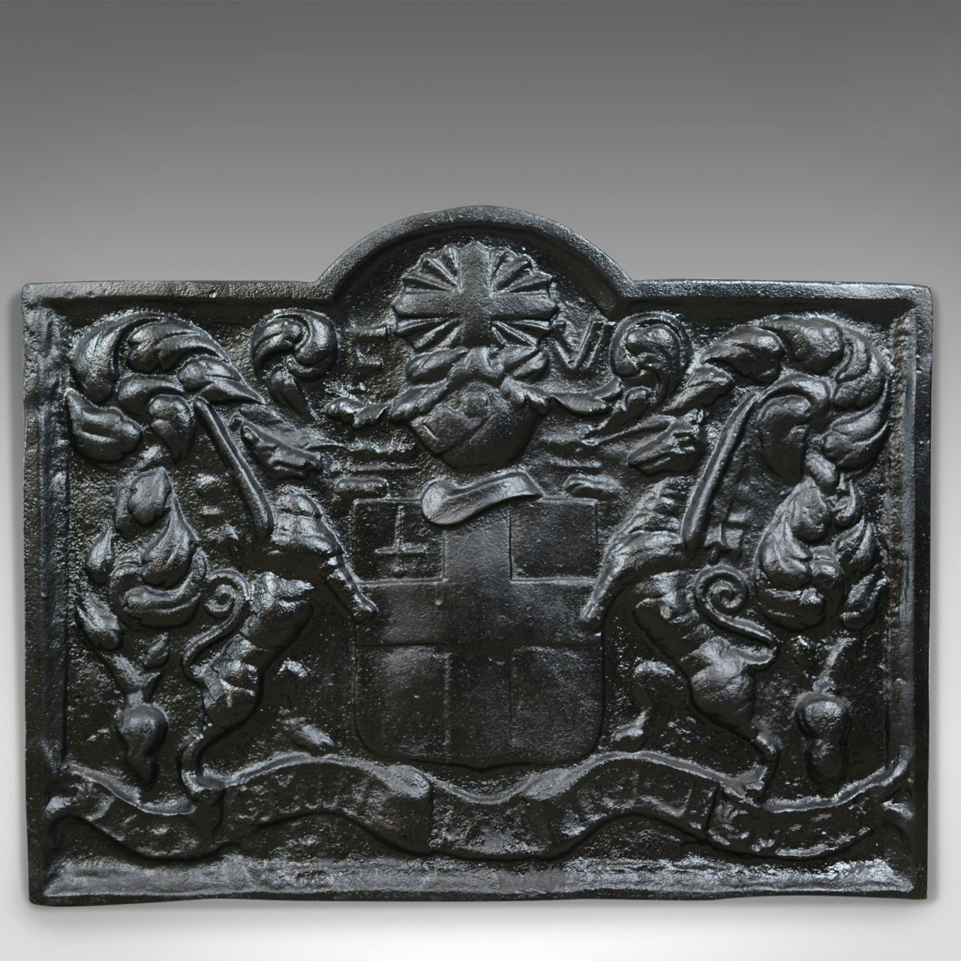 Cast Iron Fire Back, Early 20th Century, Coat of Arms, English, Heavy