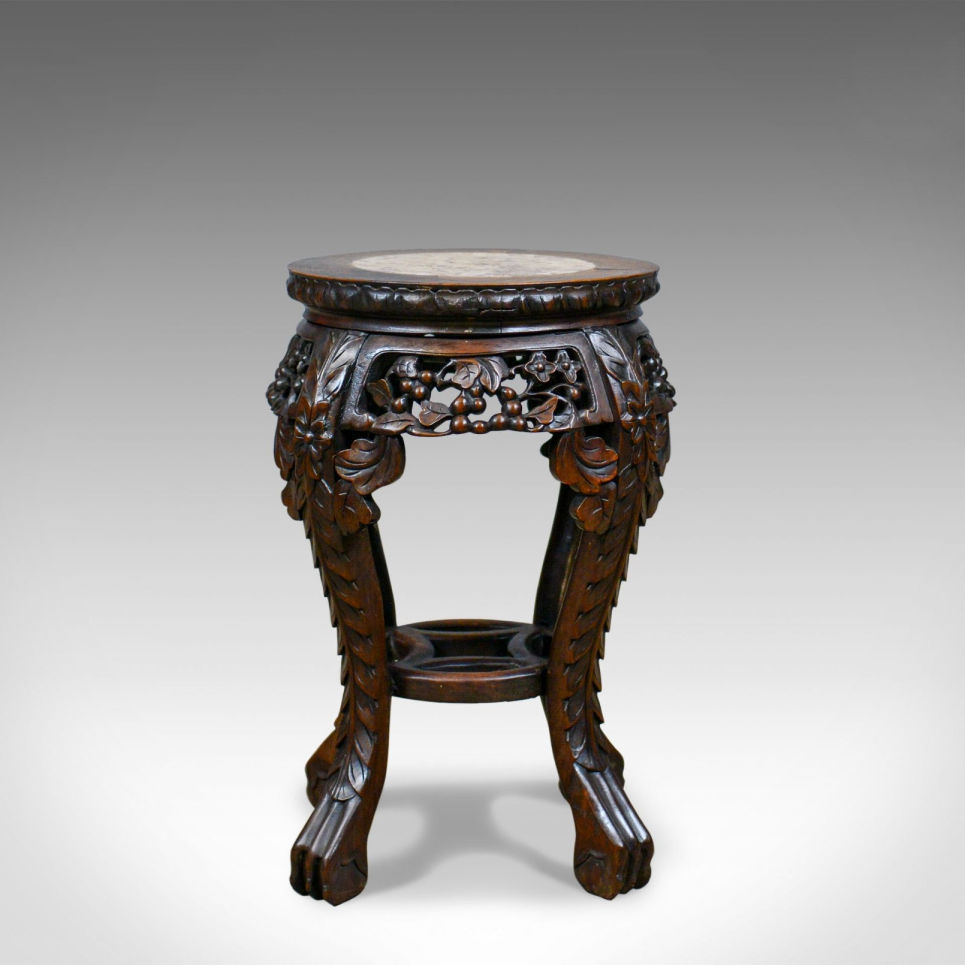Antique Side Table, Carved, Chinese, Stand, Teak, Marble, Circa 1900