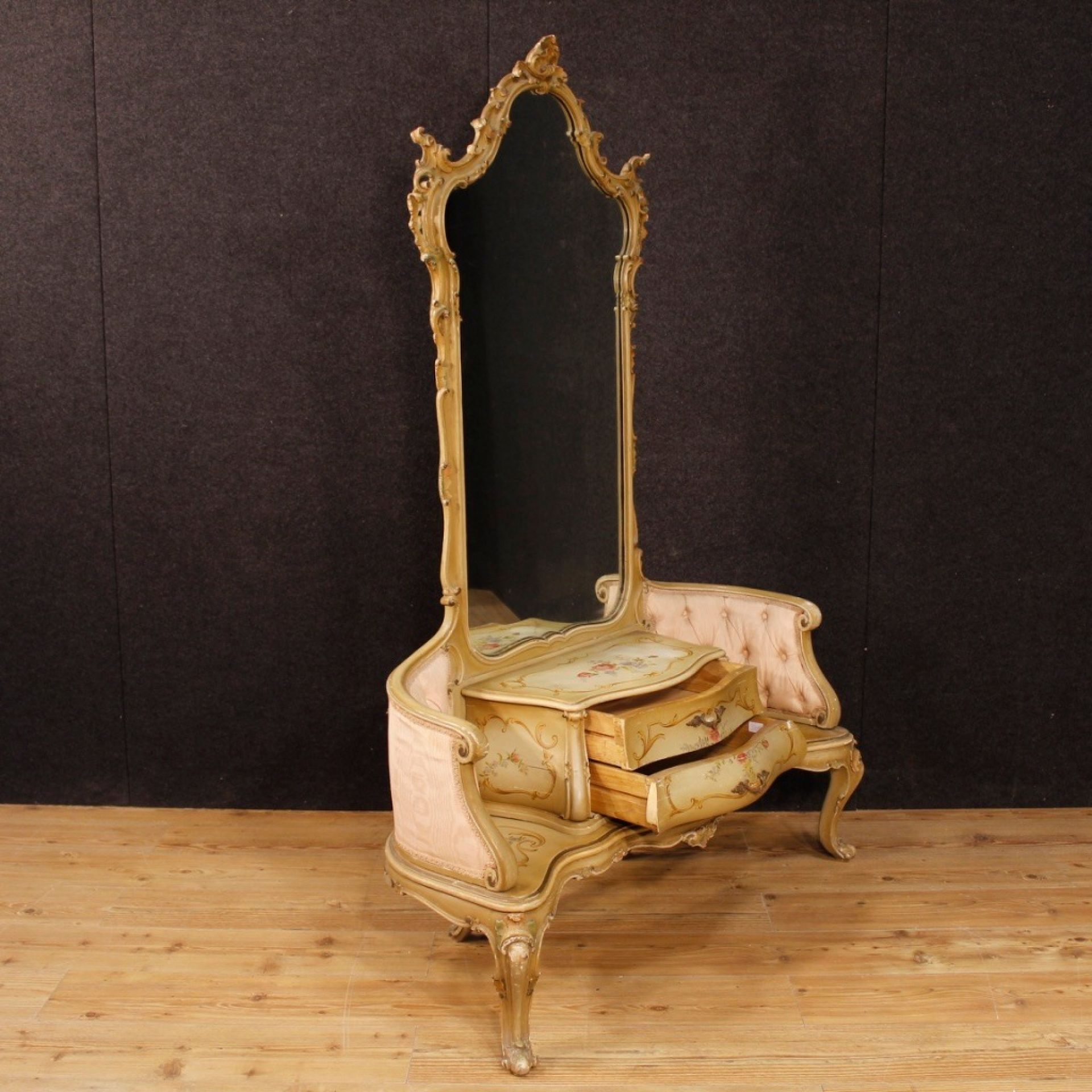 20th Century Lacquered And Painted Wood Venetian Cheval Mirror, 1950