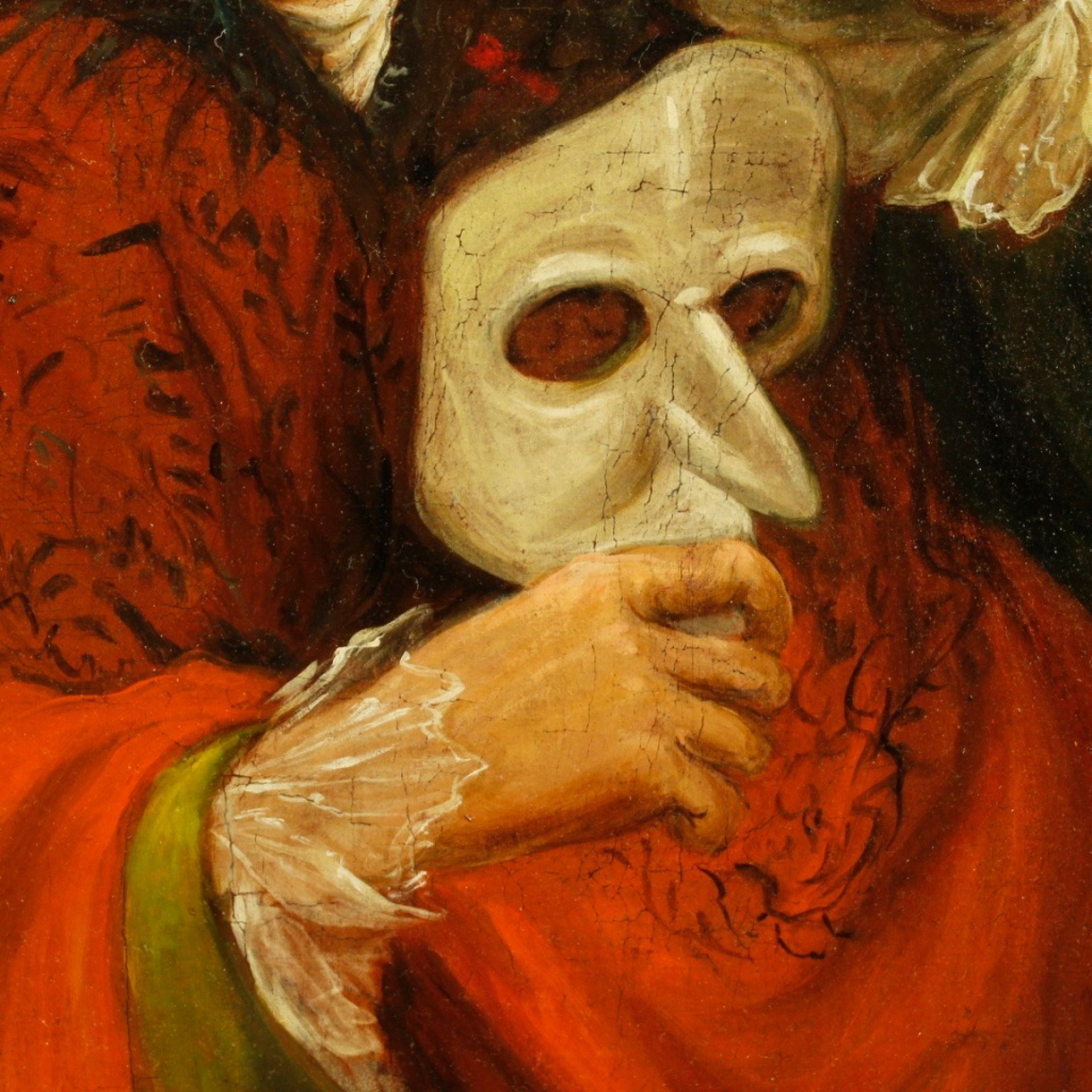 19th Century Antique Oil On Canvas Italian With Carnival Mask Painting, 1870