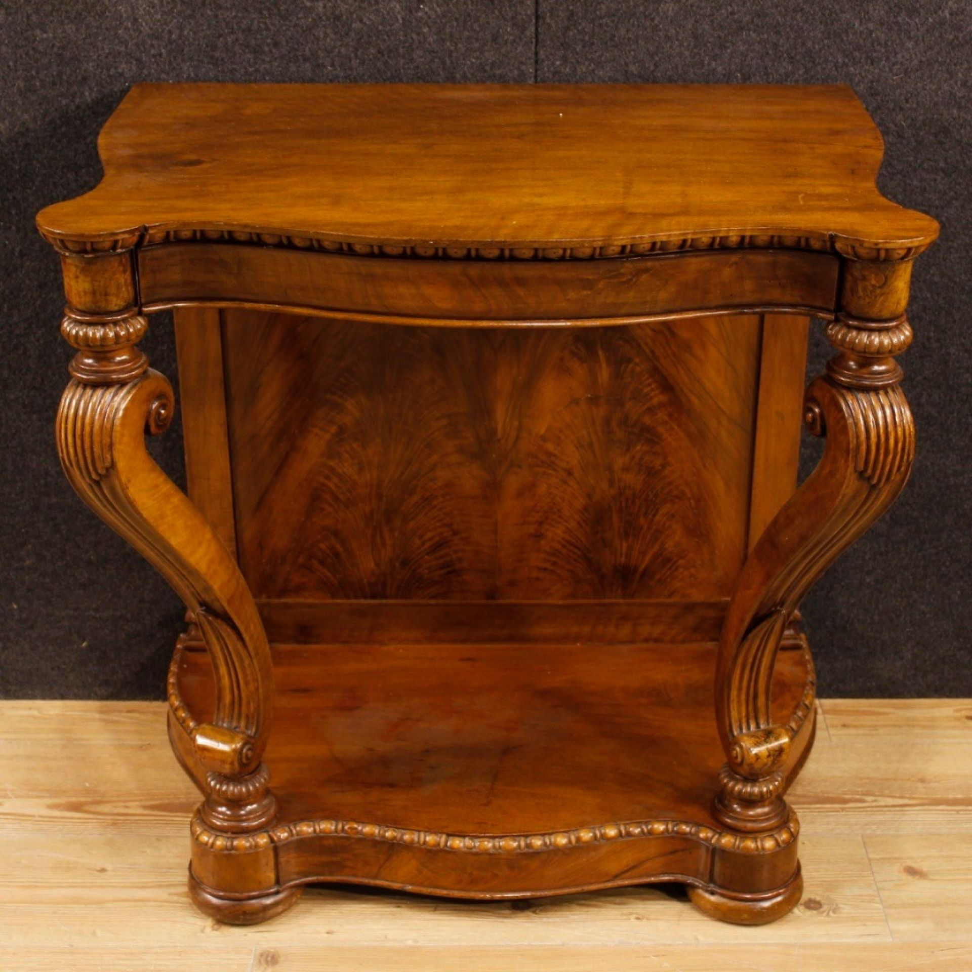 20th Century In Carved Walnut Wood French Writing Desk, 1920