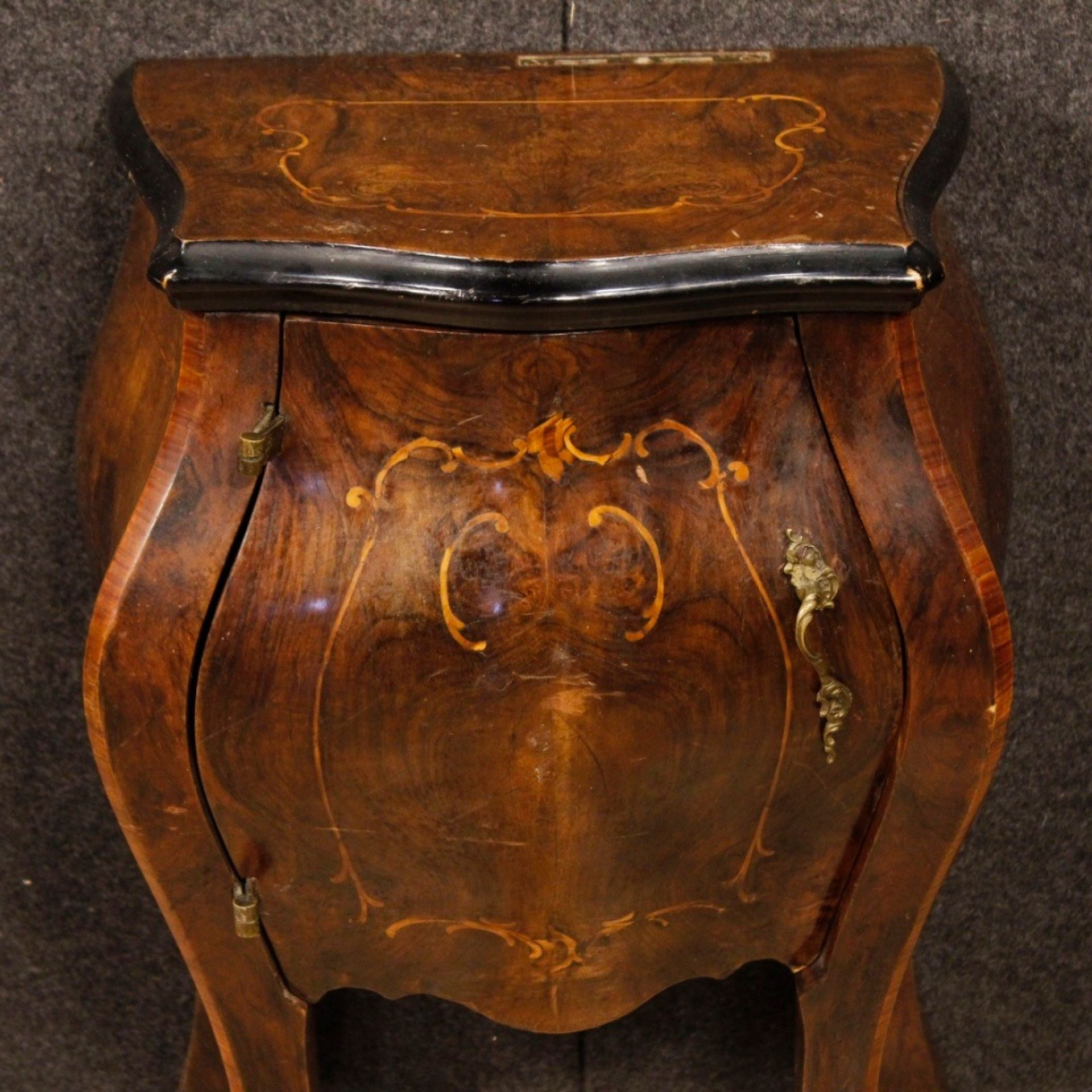 20th Century Pair of Inlaid Wood Italian Bedside Tables, 1950