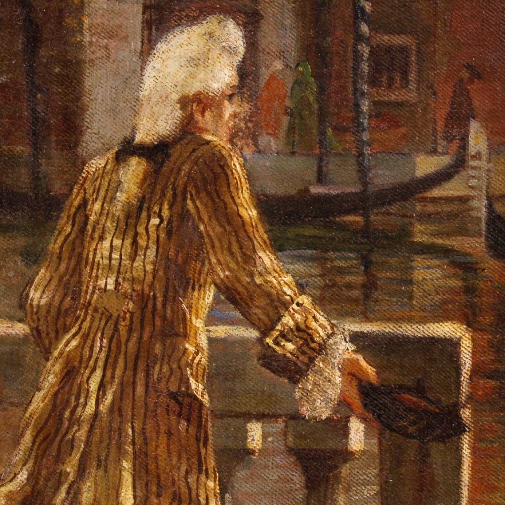 20th Century Oil On Canvas Italian Venetian Canal View With Characters Painting,