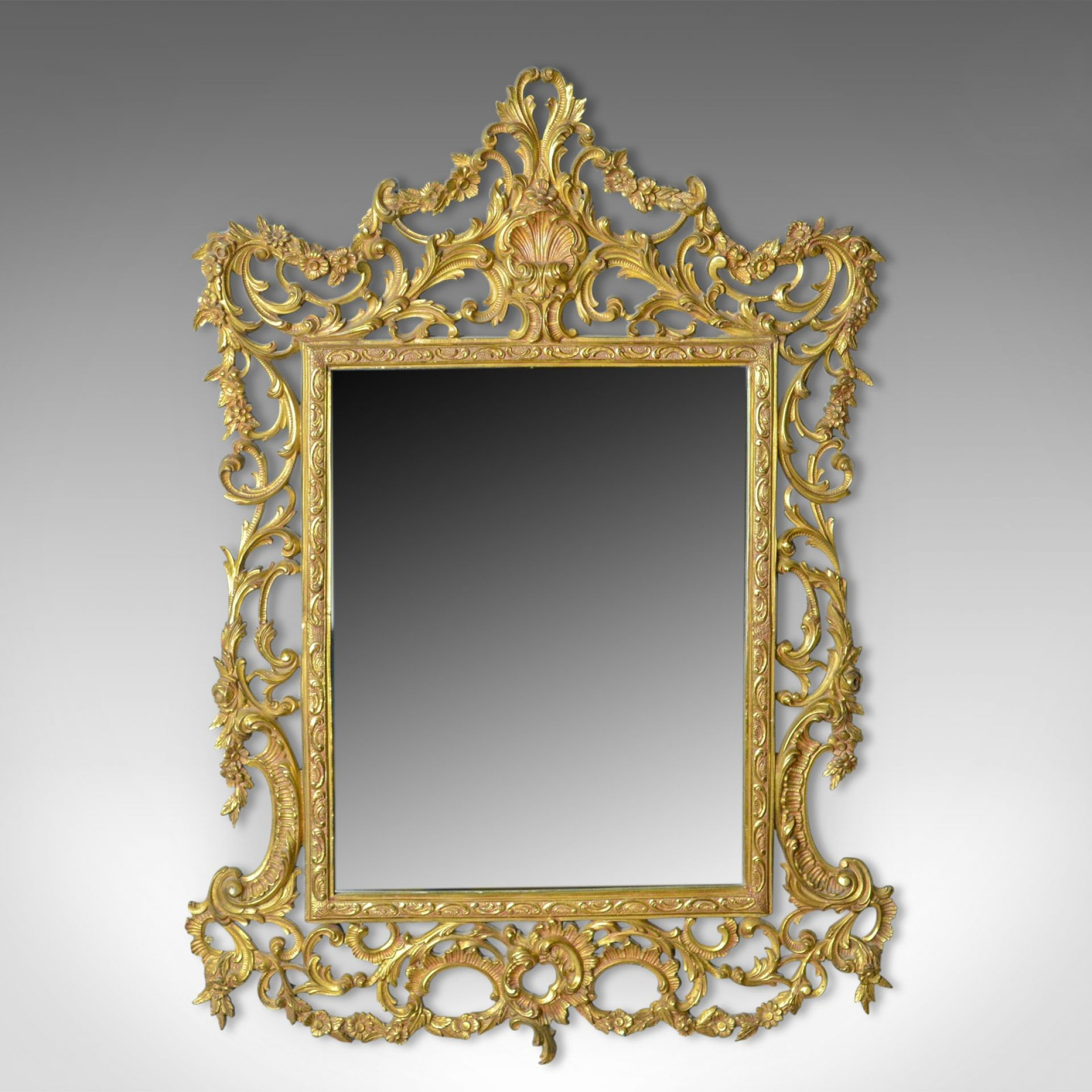 Vintage Wall Mirror, English, Rococo Revival Manner, Art Deco Period, Circa 1940