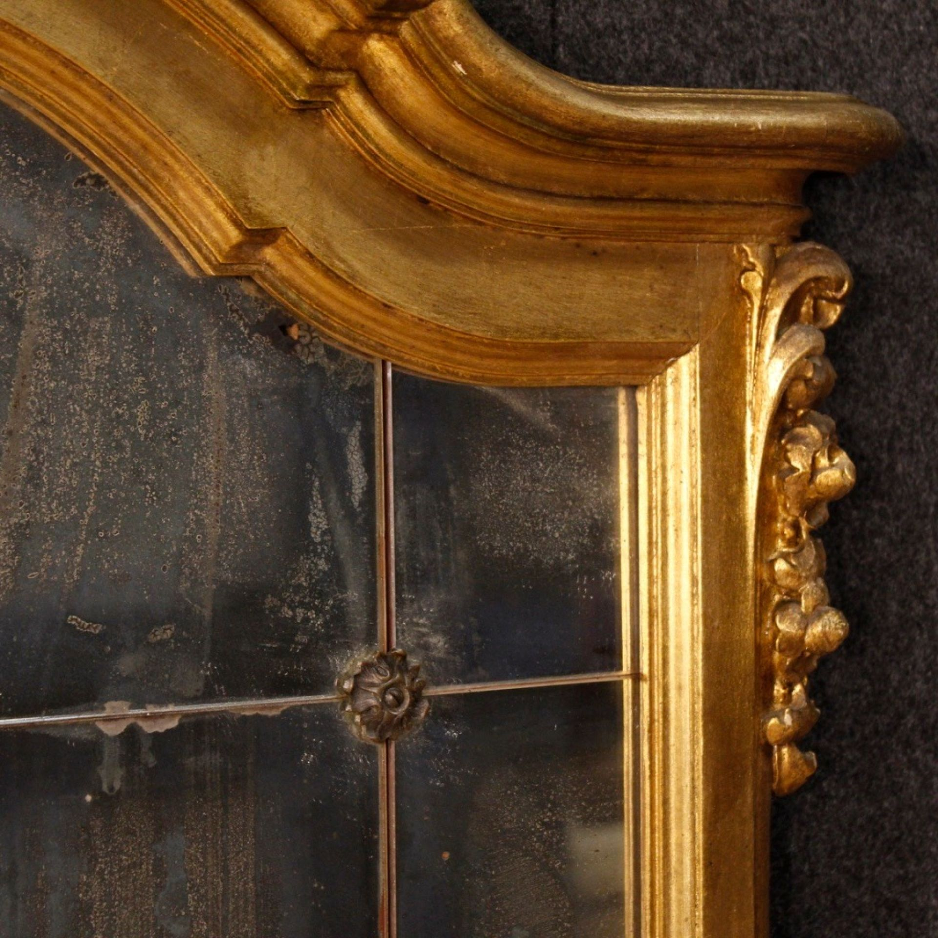 20th Century Gilt Wood and Plaster Italian Mirror, 1960
