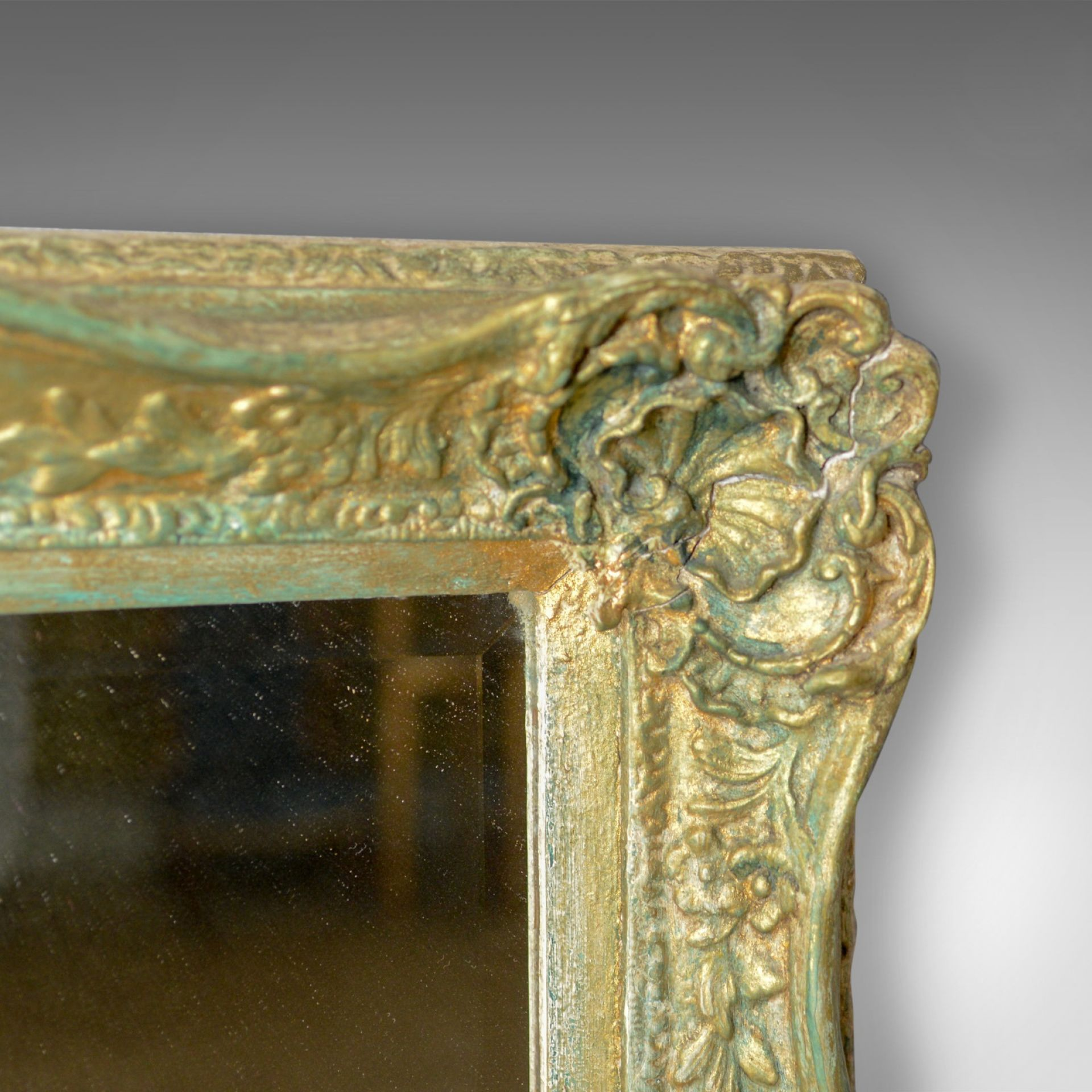 Antique Wall Mirror, Victorian, Painted Gilt Gesso Frame, Classical Taste c.1890