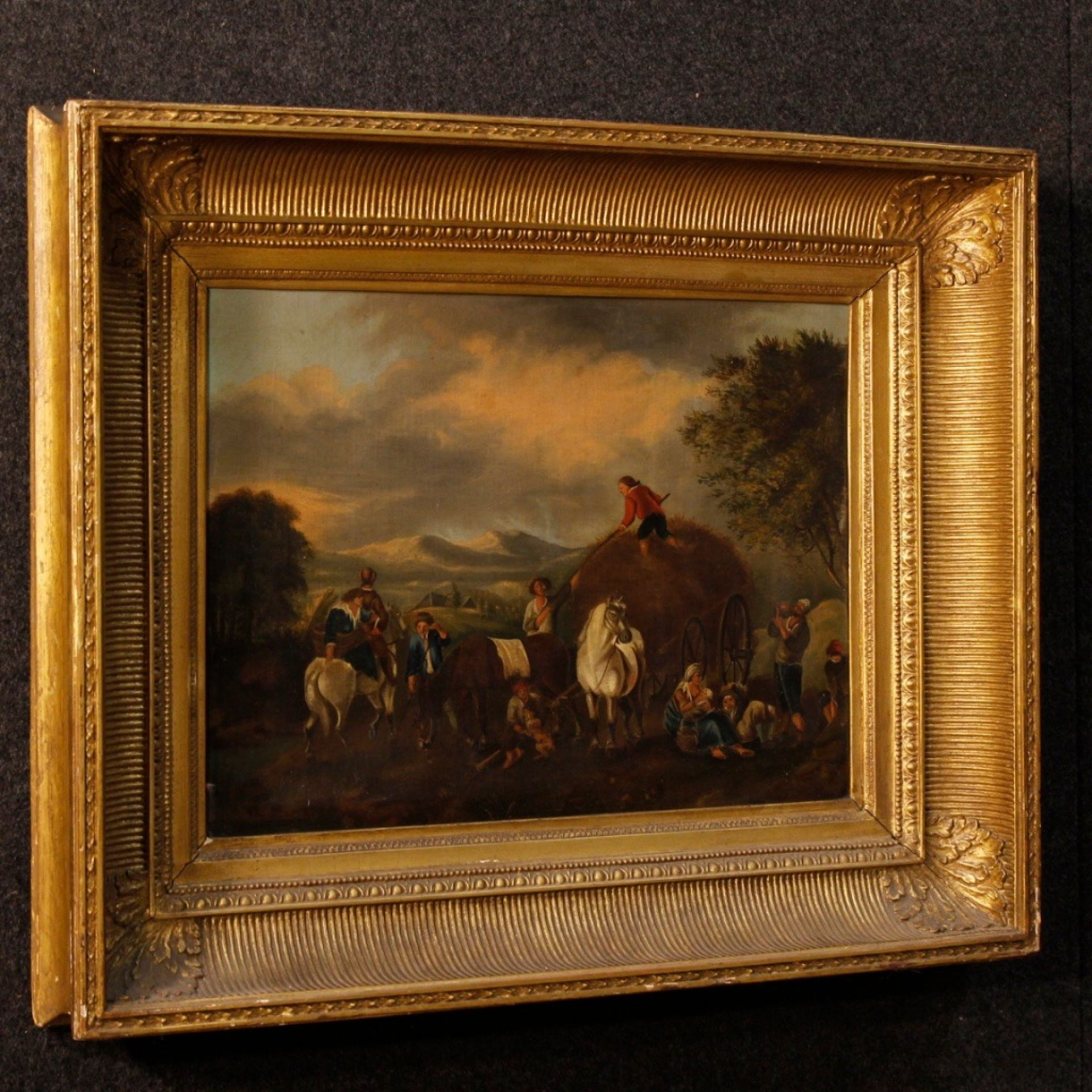 19th Century Oil on Canvas Dutch Painting Rural Scene with Characters, 1870