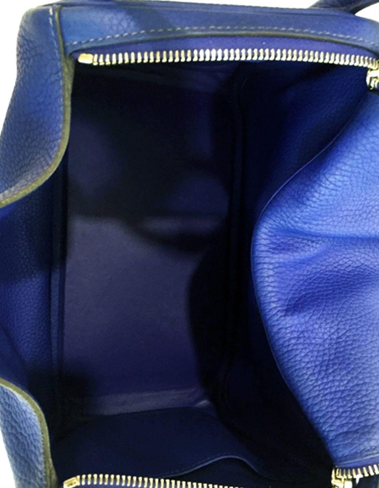 HERMÈS Lindy 30 Clemence Blue Electric PHW