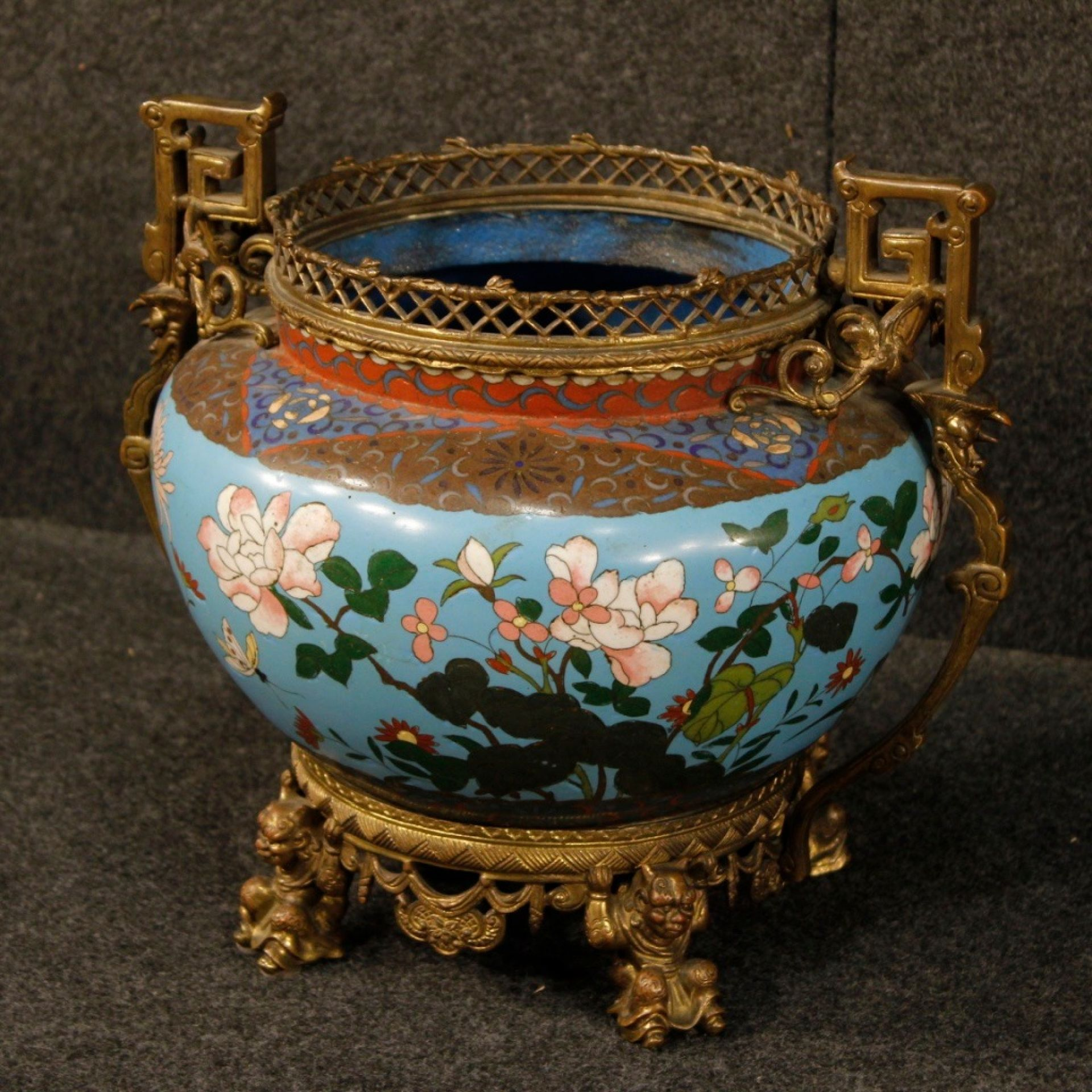 19th Century Blue Gilt Bronze French Cloisonné Vase, 1870