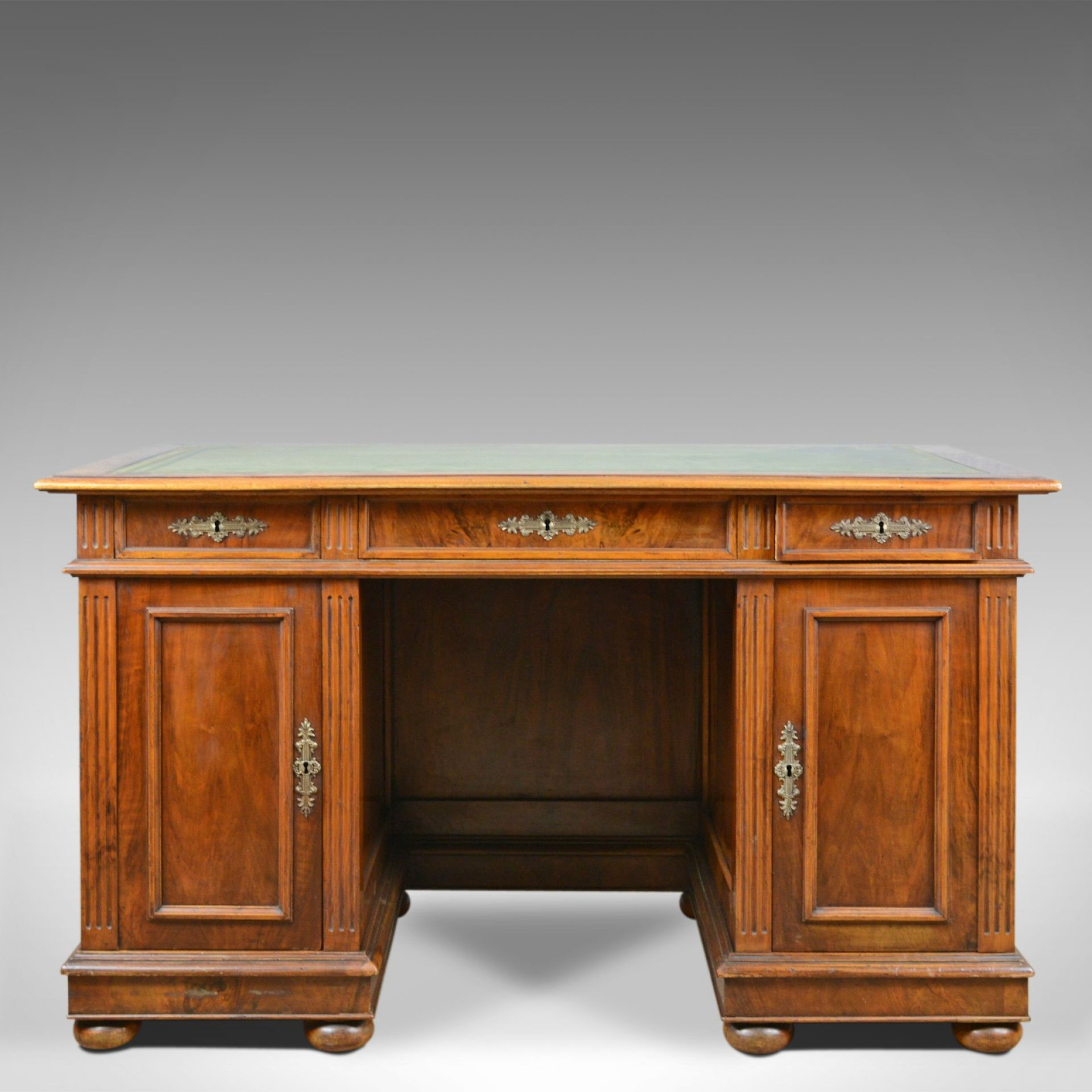 Antique Pedestal Desk, French, 19th Century, Walnut, Leather Top, Circa 1880
