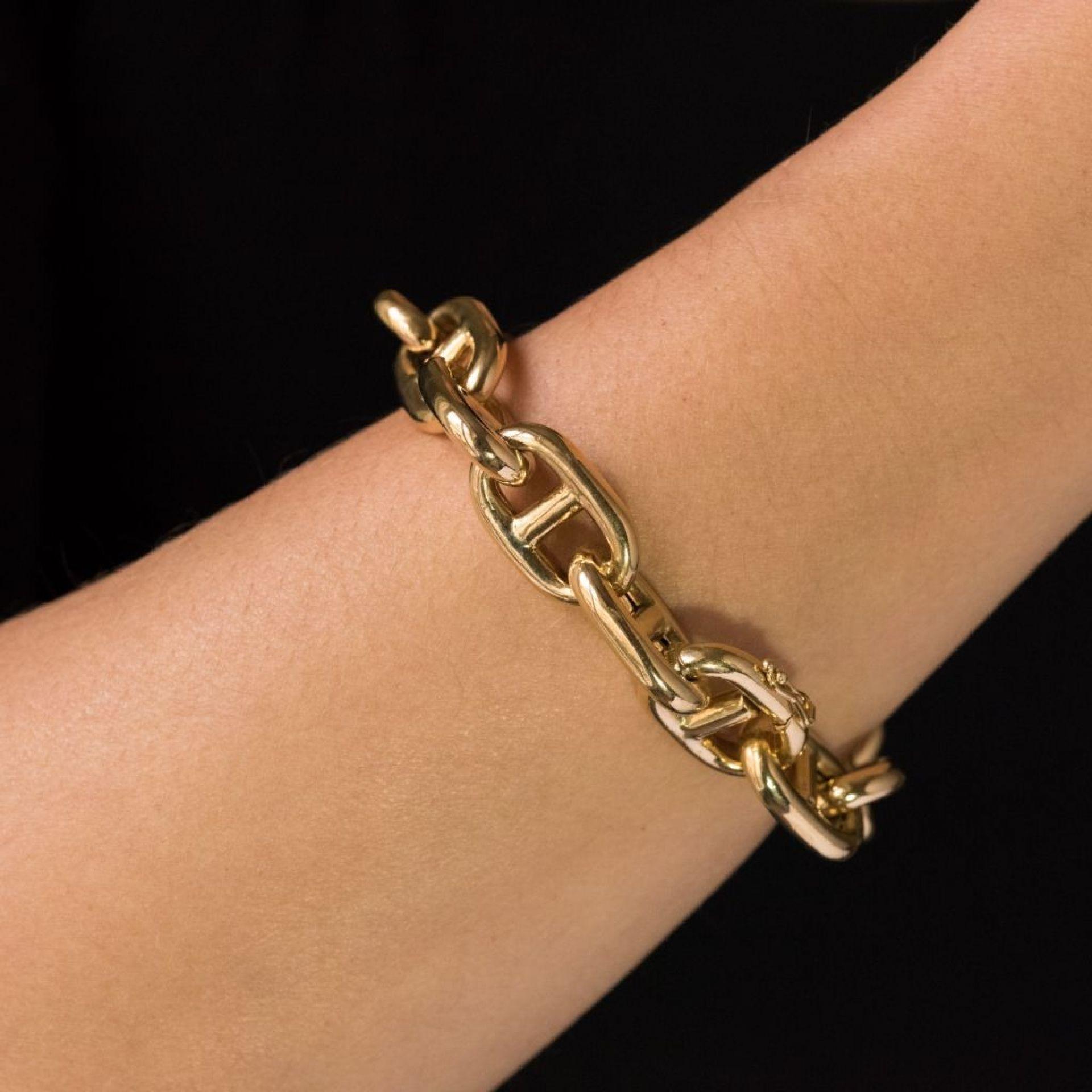 Navy gold mesh bracelet