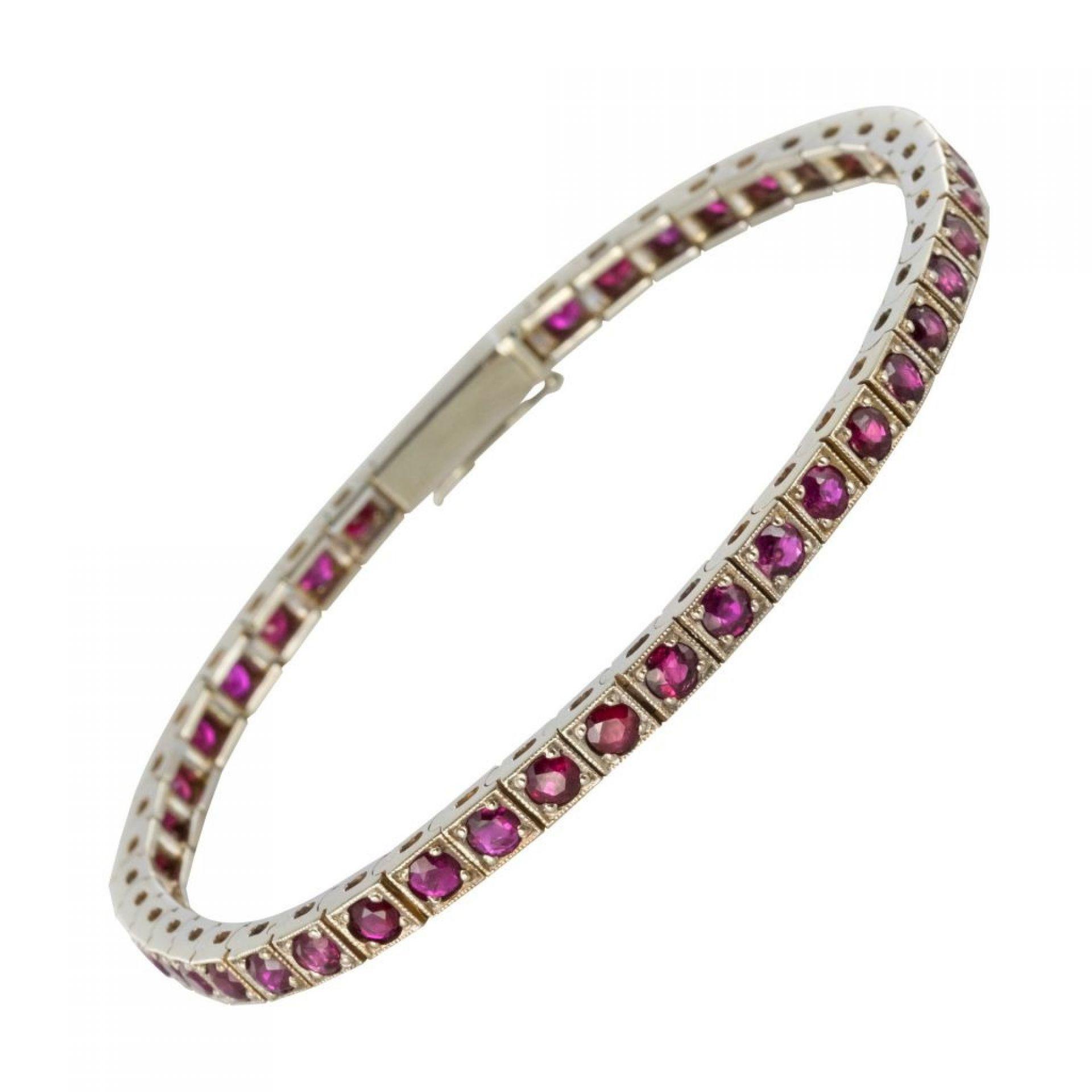 White gold ruby bracelet