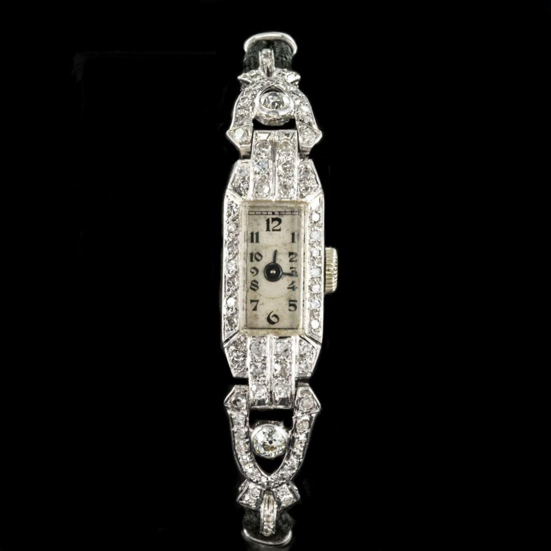 Platinum and diamonds old art deco watch