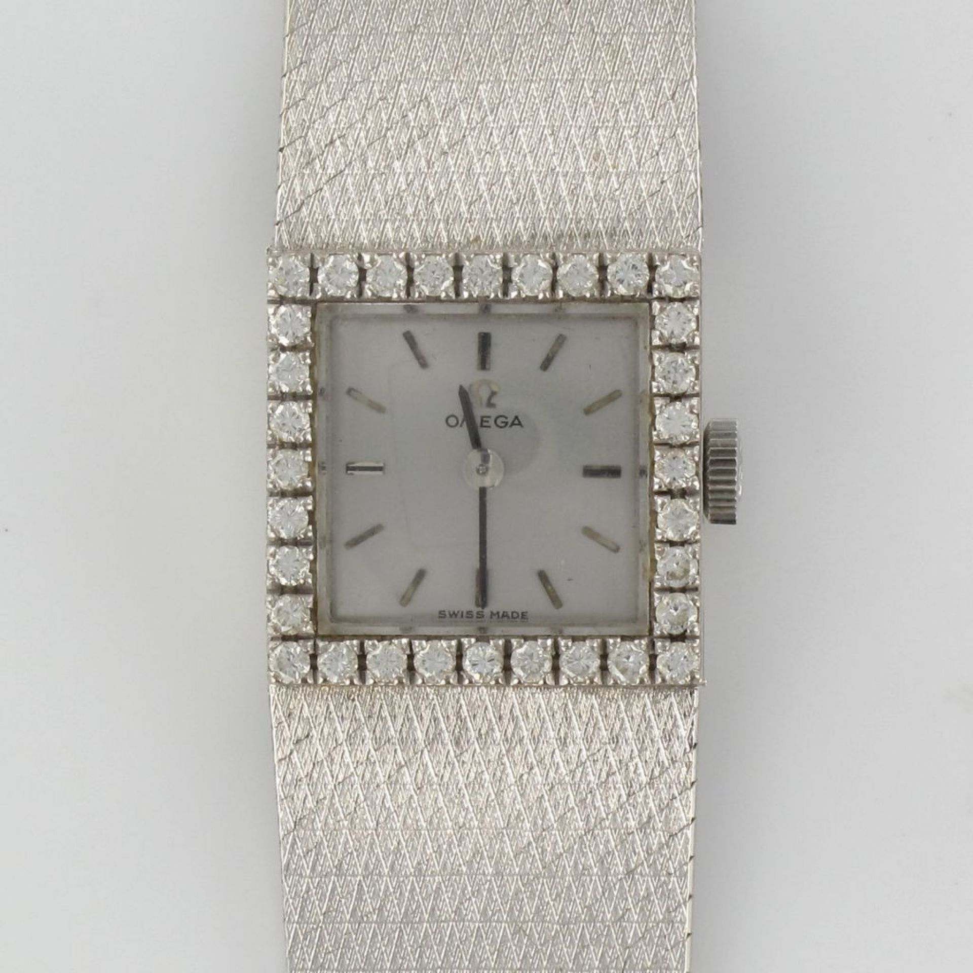 Omega Quartz Watch City White Gold Diamonds Woman