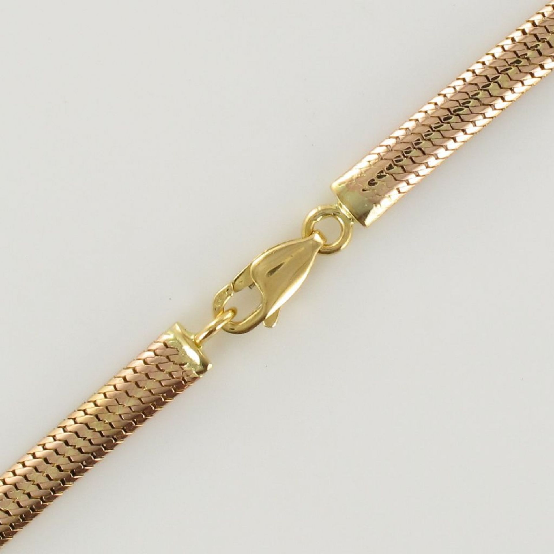 Pink gold snake link necklace