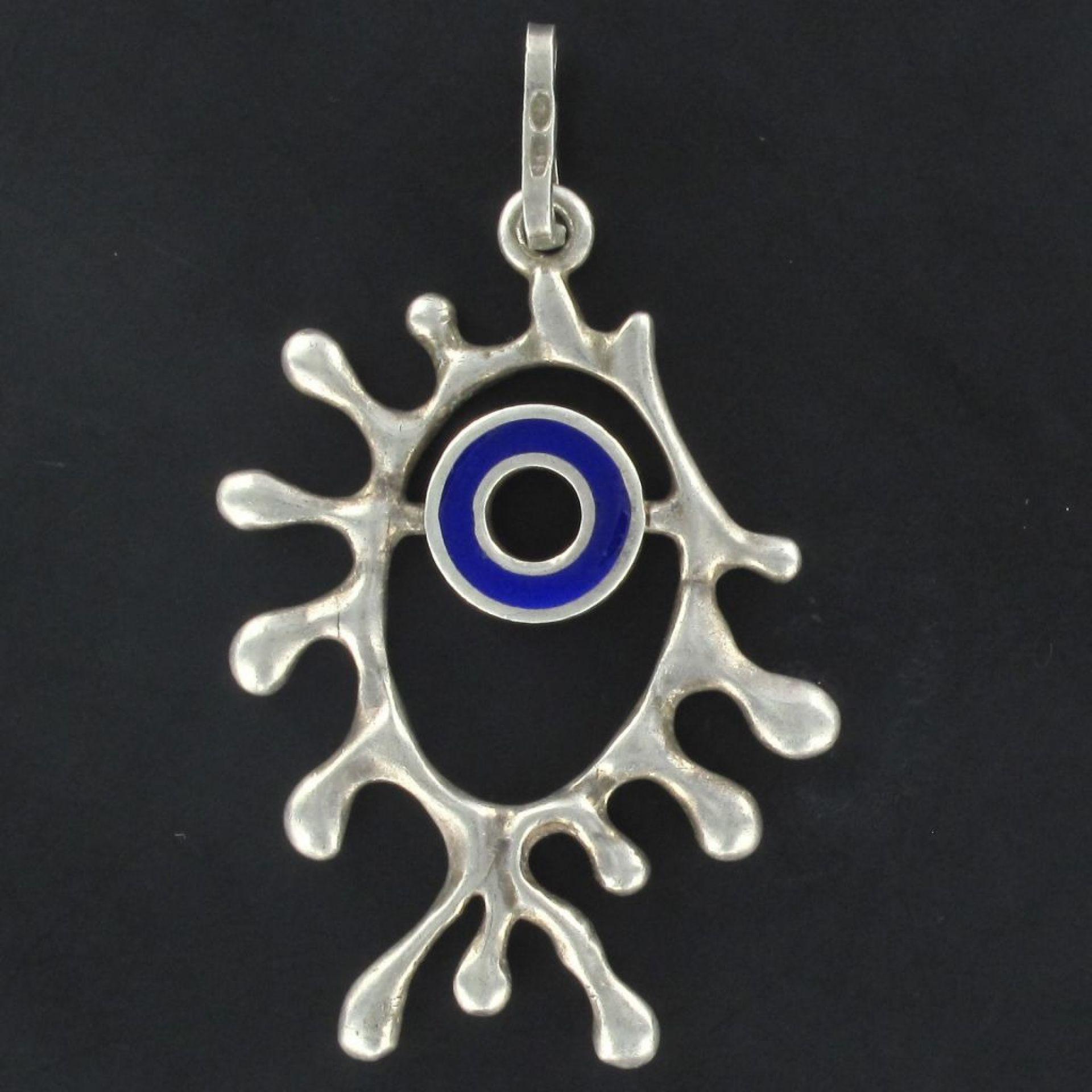 Modernist enamel silver pendant