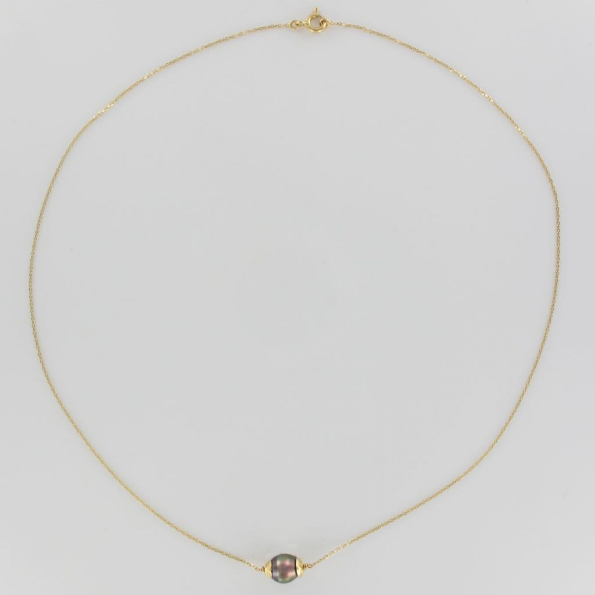 Yellow Gold and Tahitian Pearl Necklace