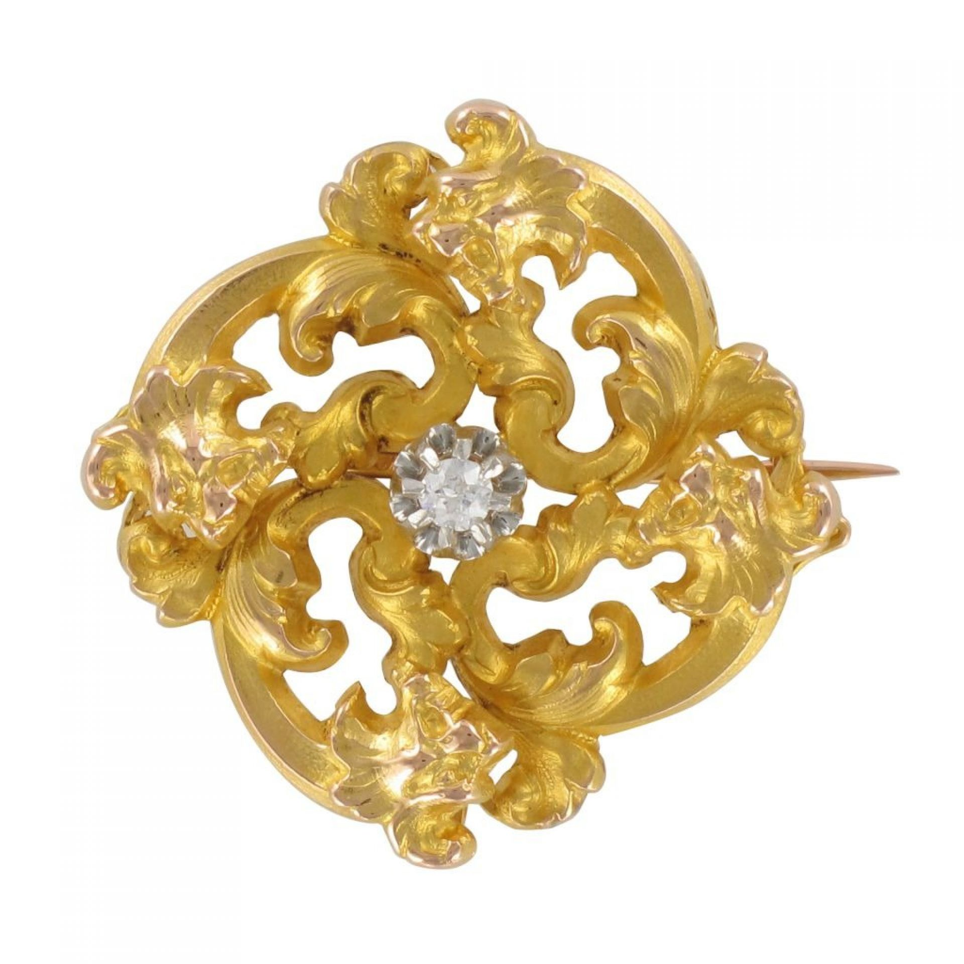 Old diamond art nouveau brooch