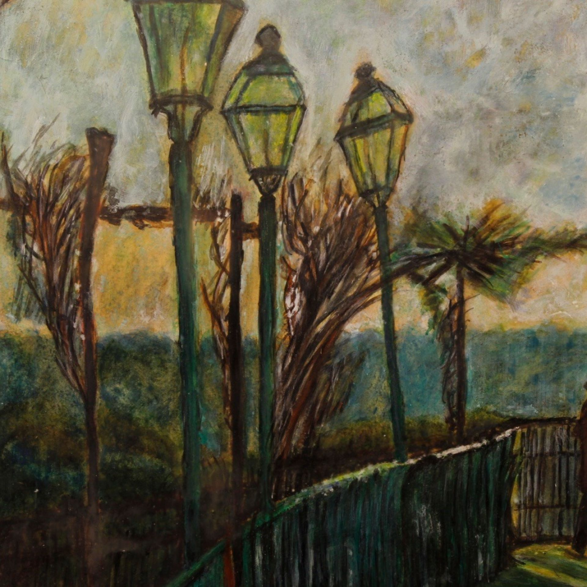 20th Century Mixed Media Italian Impressionist Signed Landscape Painting, 1960
