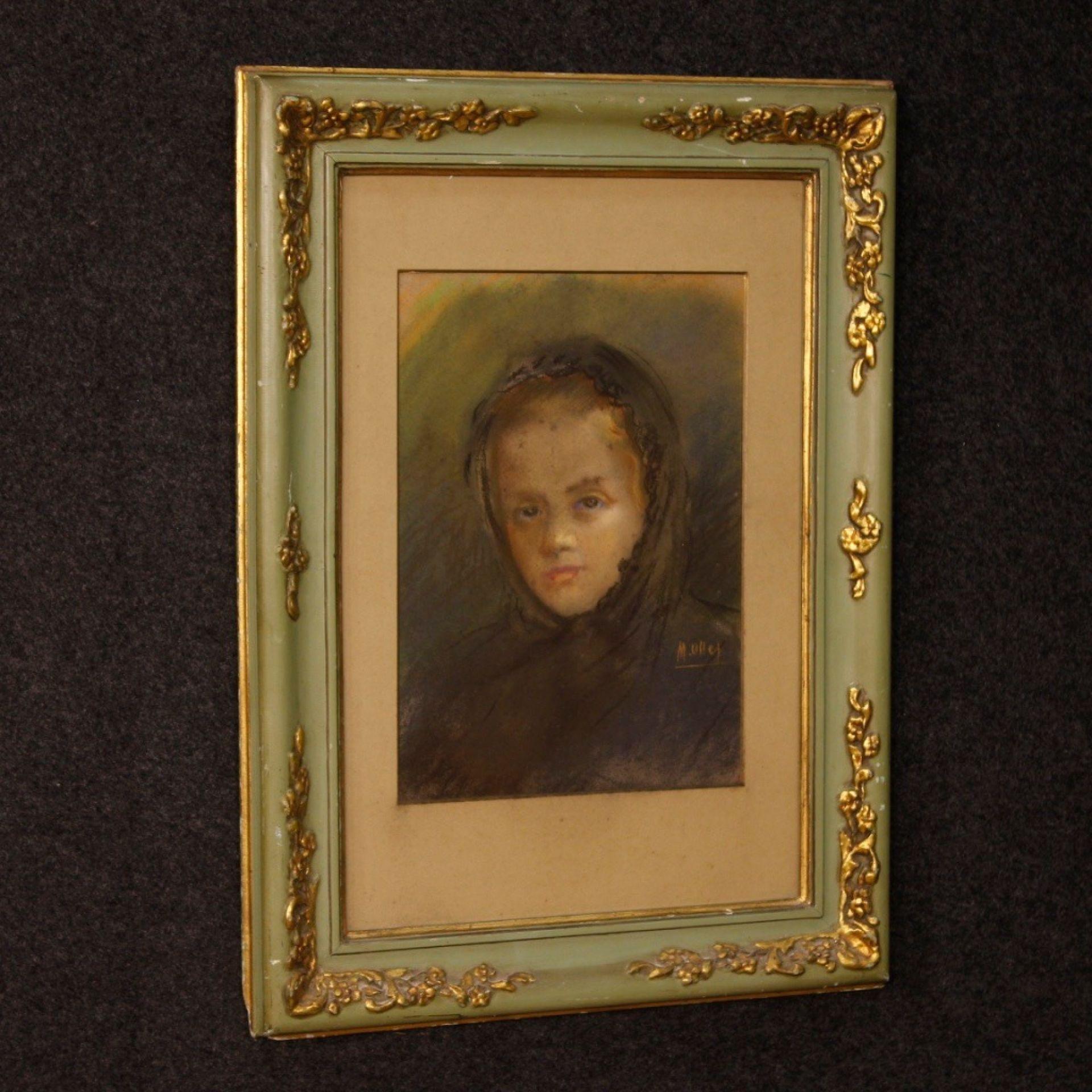 20th Century Tempera on Paper Spanish Signed Female Portrait Painting, 1960