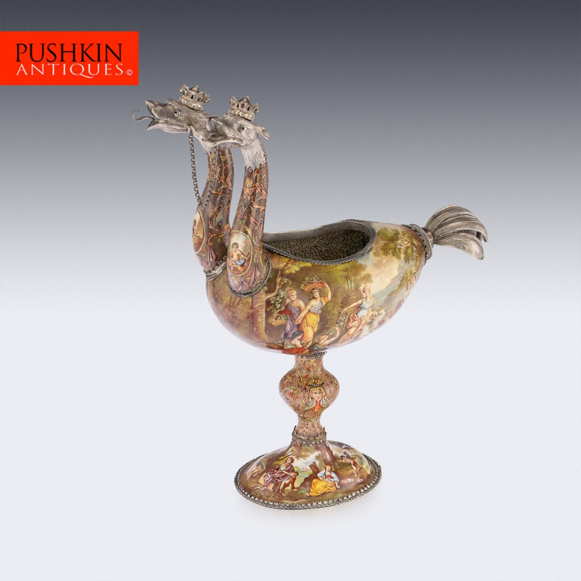 ANTIQUE 19thC AUSTRIAN SOLID SILVER & ENAMEL OSTRICH CUP, RUDOLF LINKE c.1890