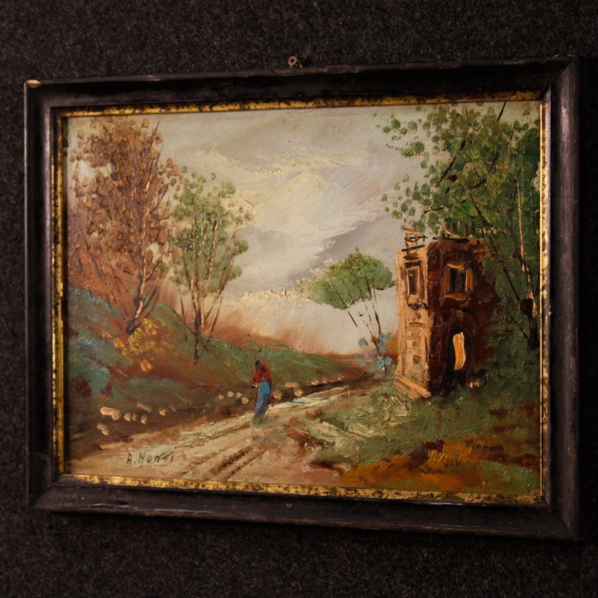 20th Century Oil On Masonite Italian Impressionist Signed Landscape Painting