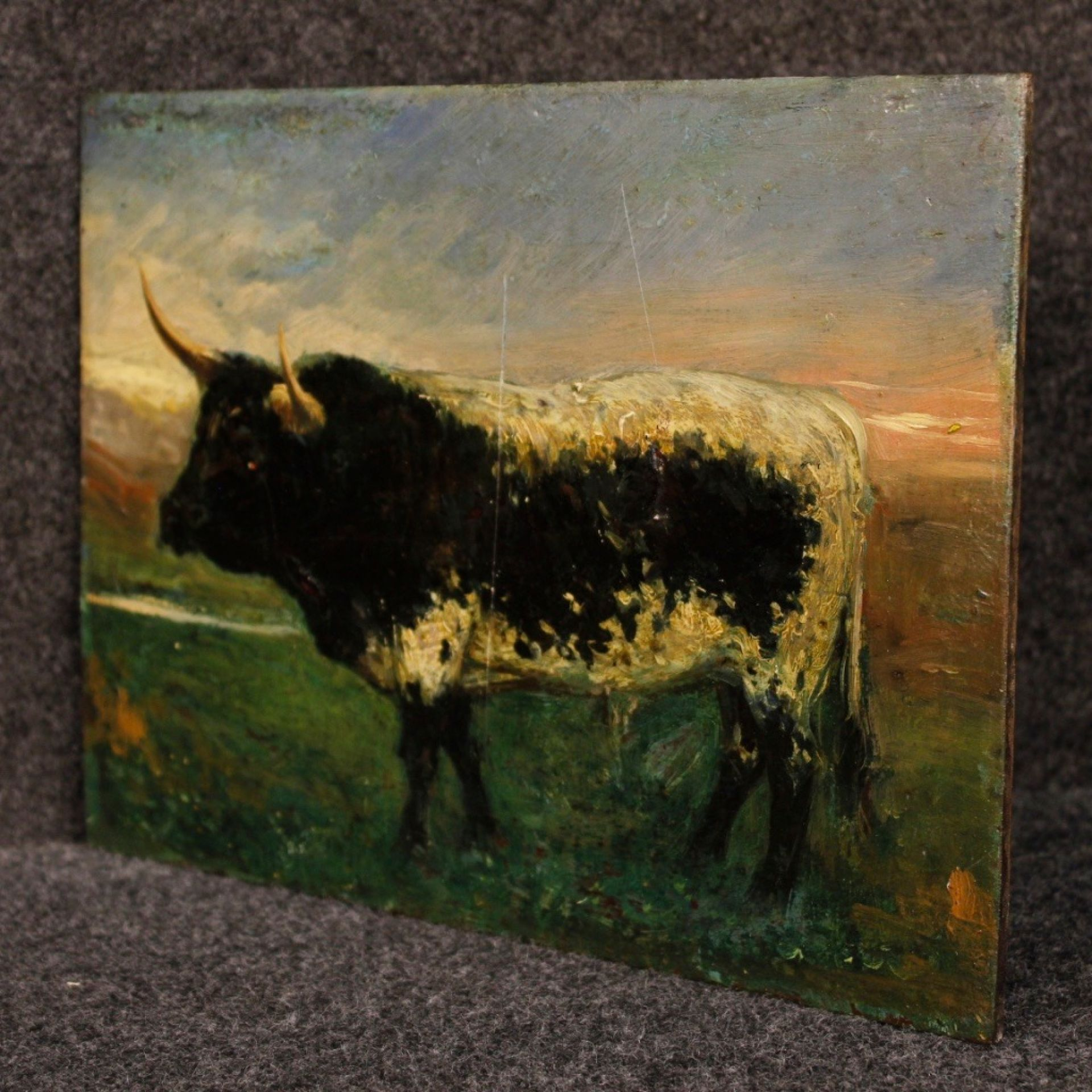 20th Century Spanish Oil On Board Spanish Impressionist Bull Painting, 1920