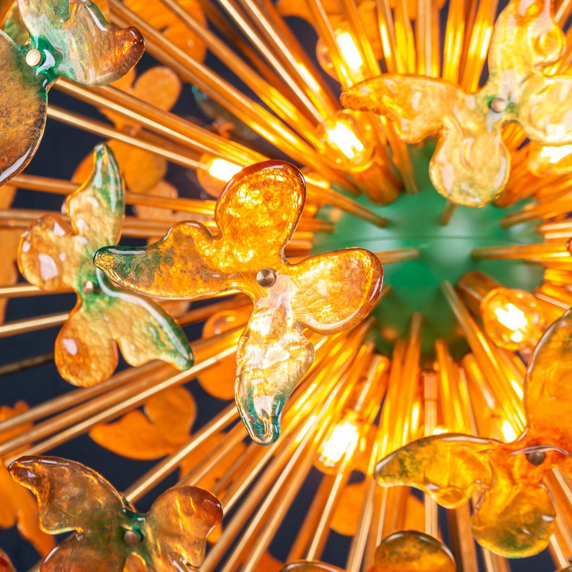 """LARGE HANDMATE VENETIAN GLASS BUTTERFLY """"SPUTNIK"""" CHANDELIER"""