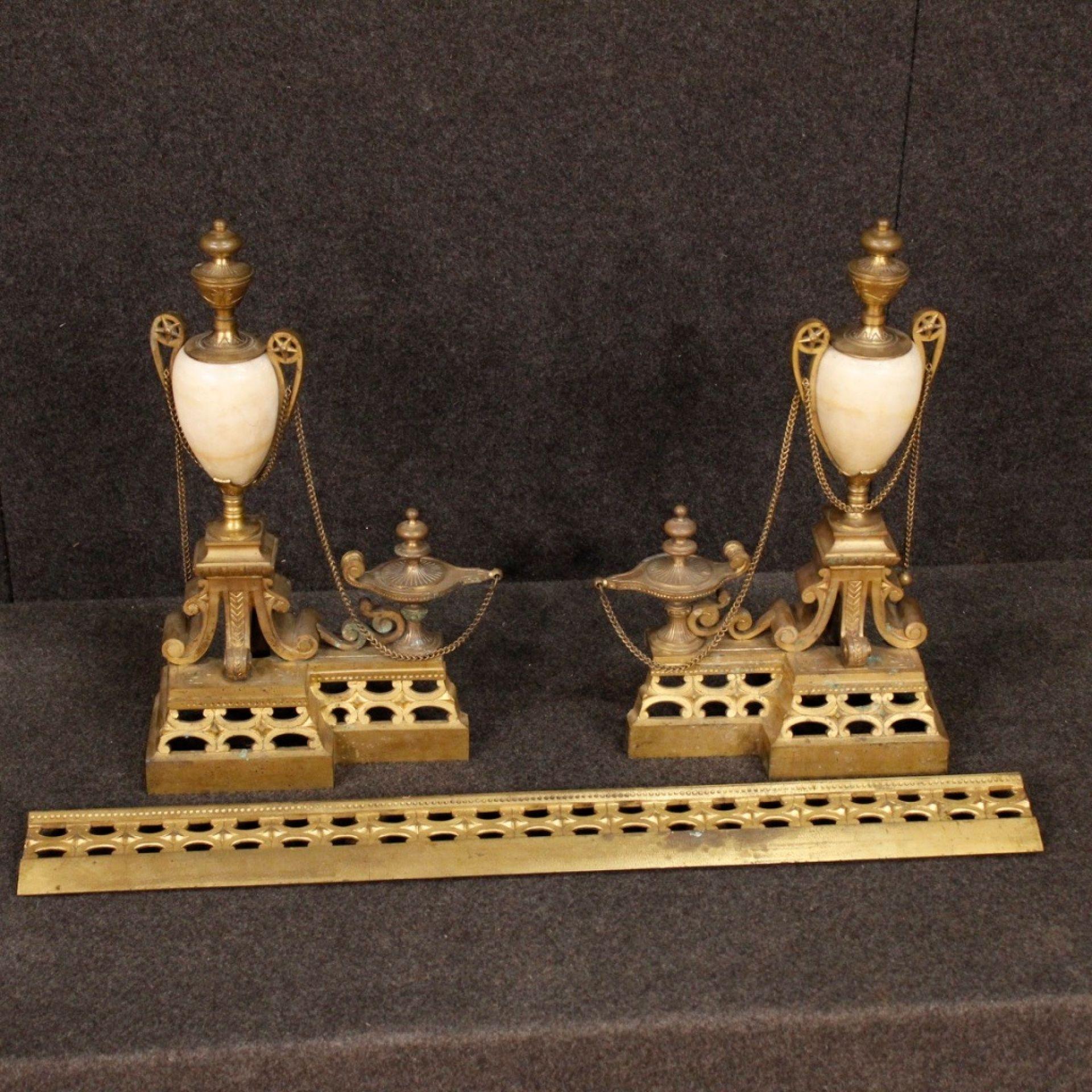 20th Century Chiselled Bronze and Brass Italian Andiron, 1920