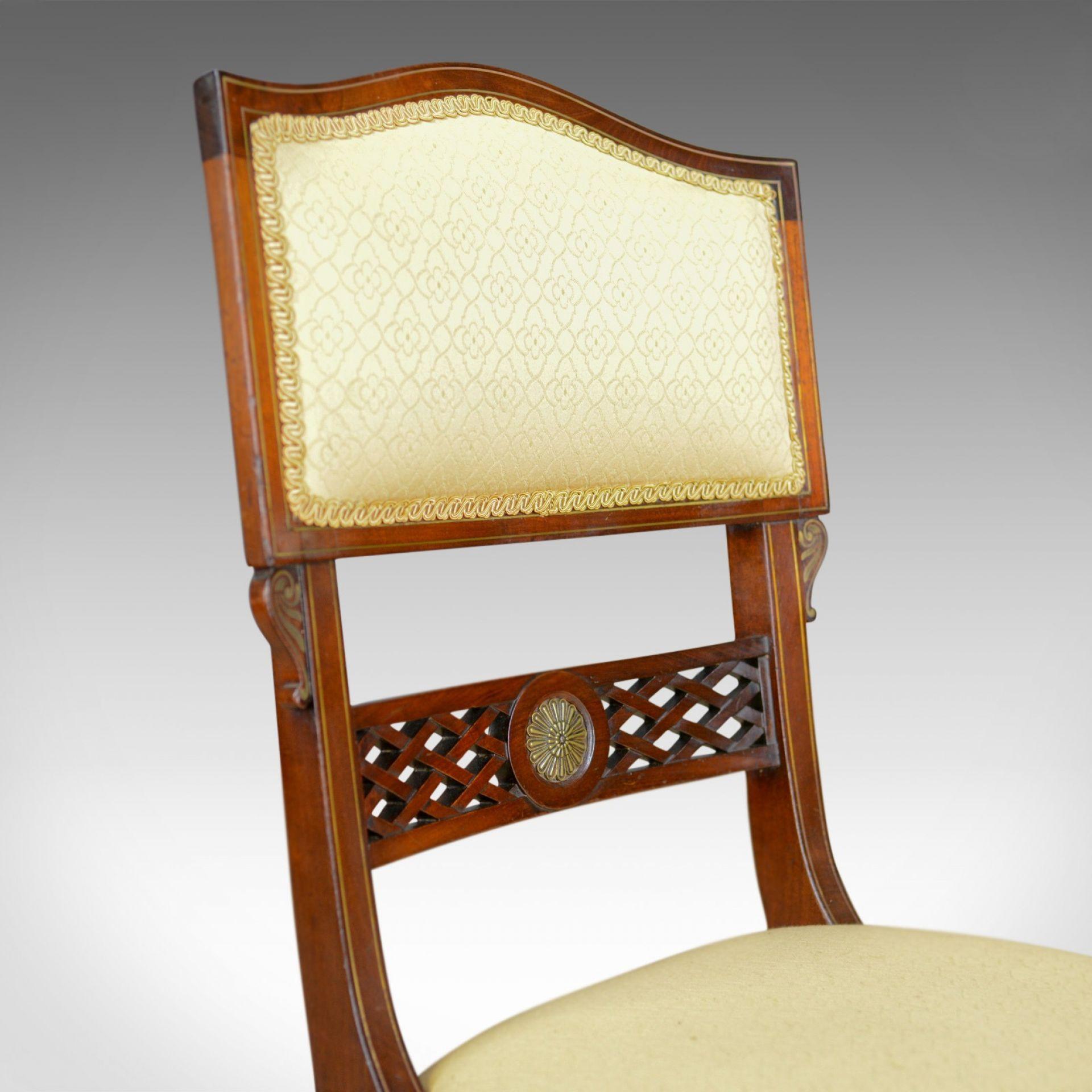 Set of Six, Antique, Dining Chairs, English, Regency, Mahogany, Circa 1820