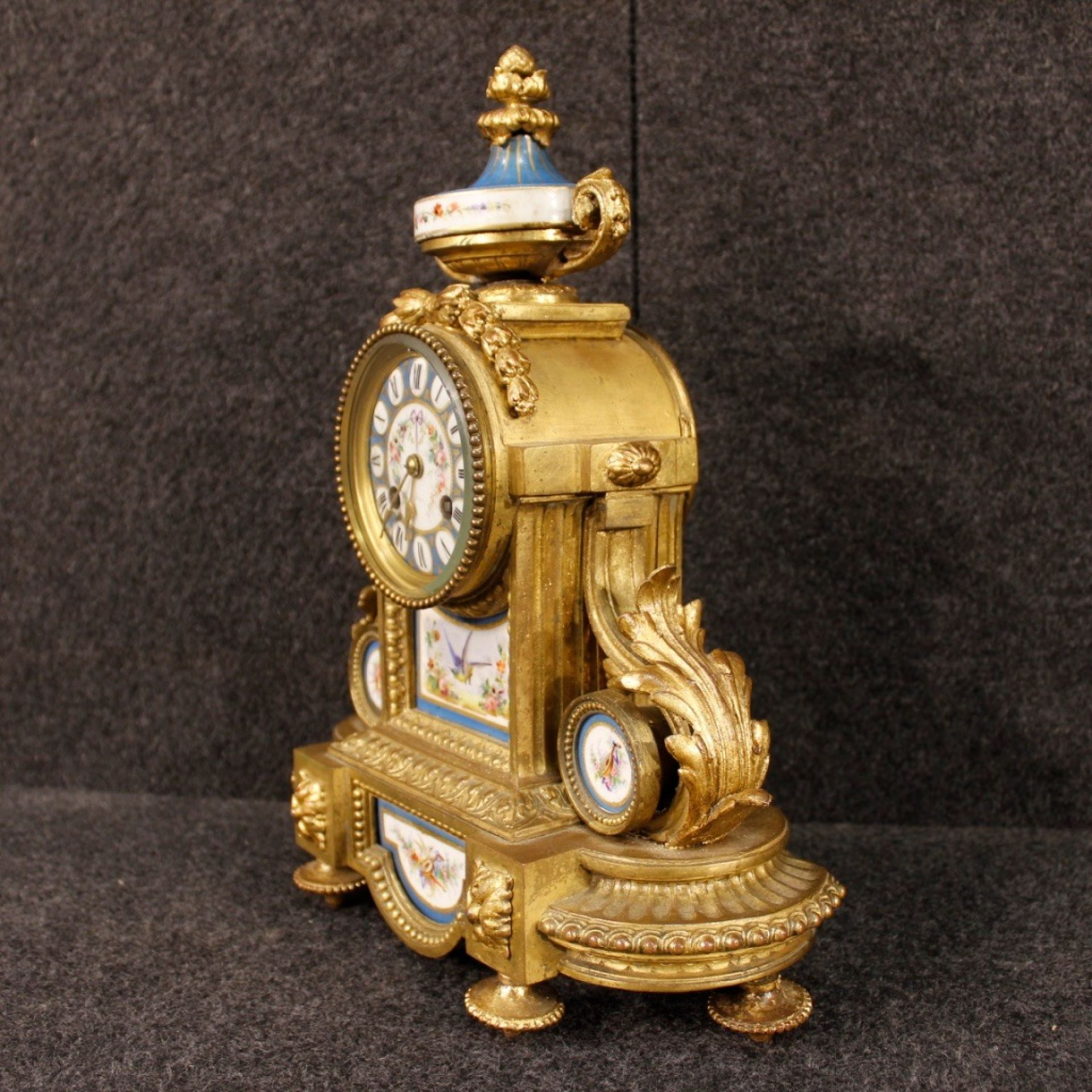 20th Century Gilded Bronze And Brass With Painted Ceramic French Clock, 1950