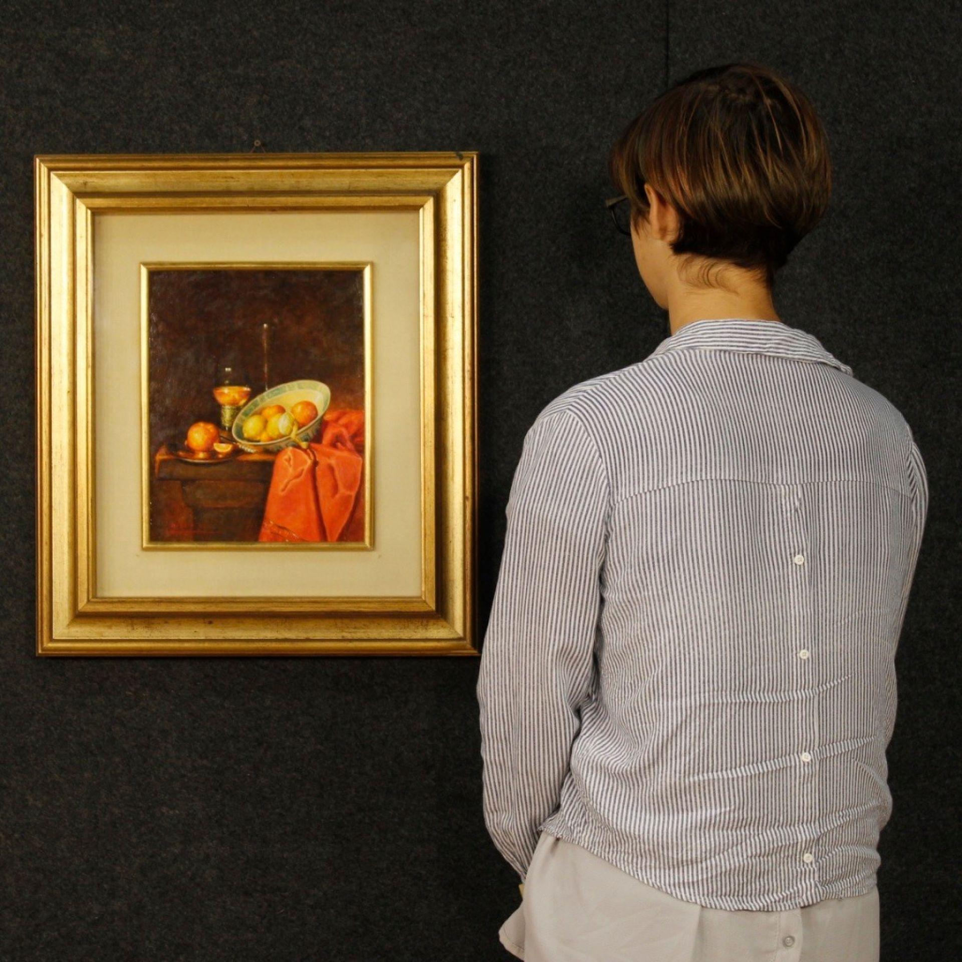 20th Century Oil On Board Italian Signed Still Life Painting, 1970