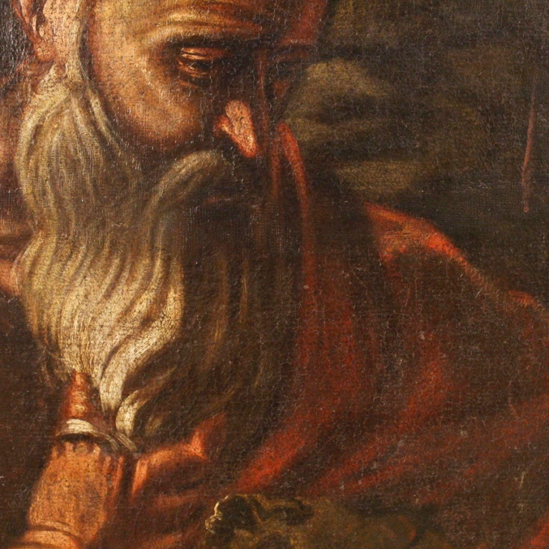 18th Century Antique Oil On Canvas Italian Religious Saint Jerome Painting