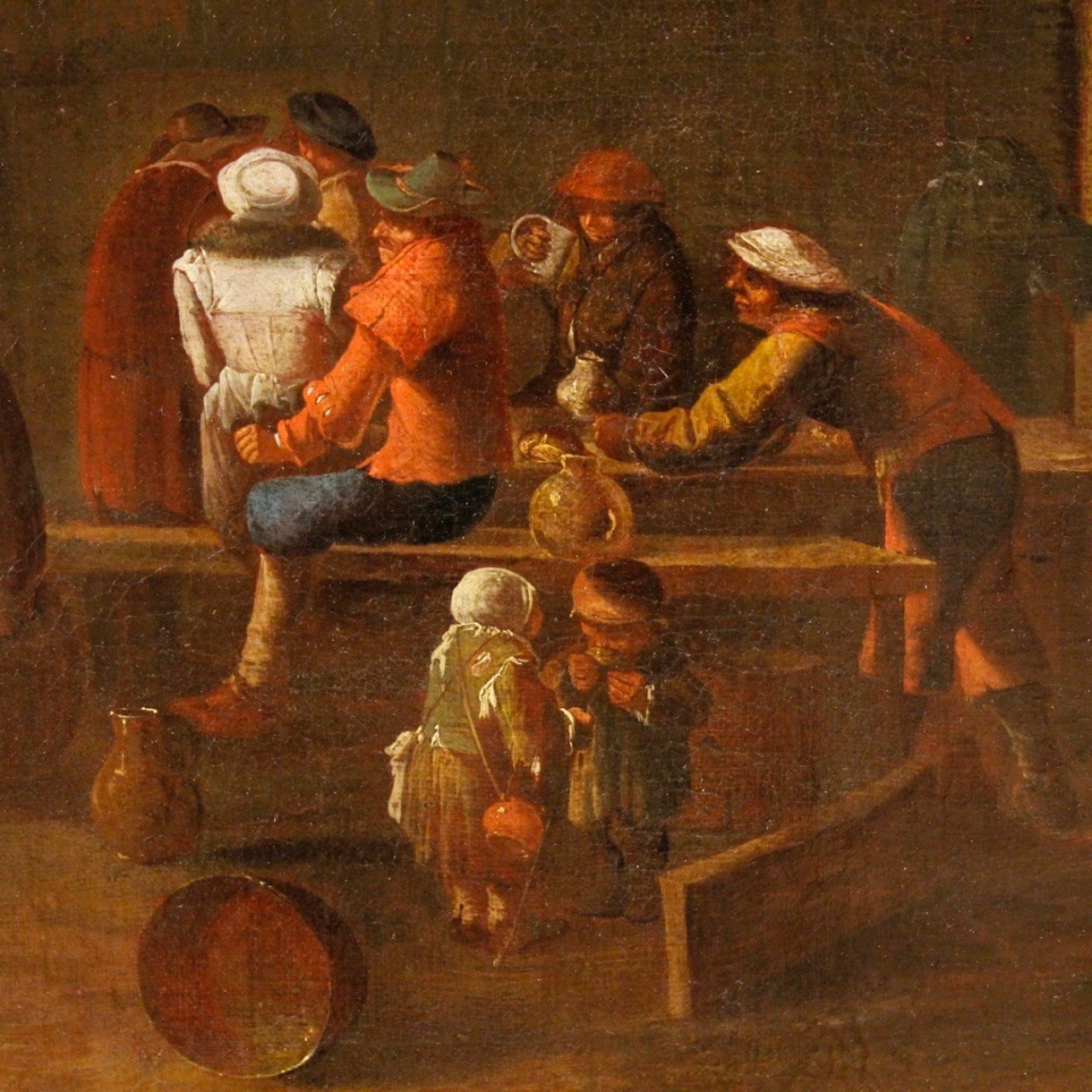 18th Century Oil on Canvas Flemish Popular Scenes with Characters Paintings