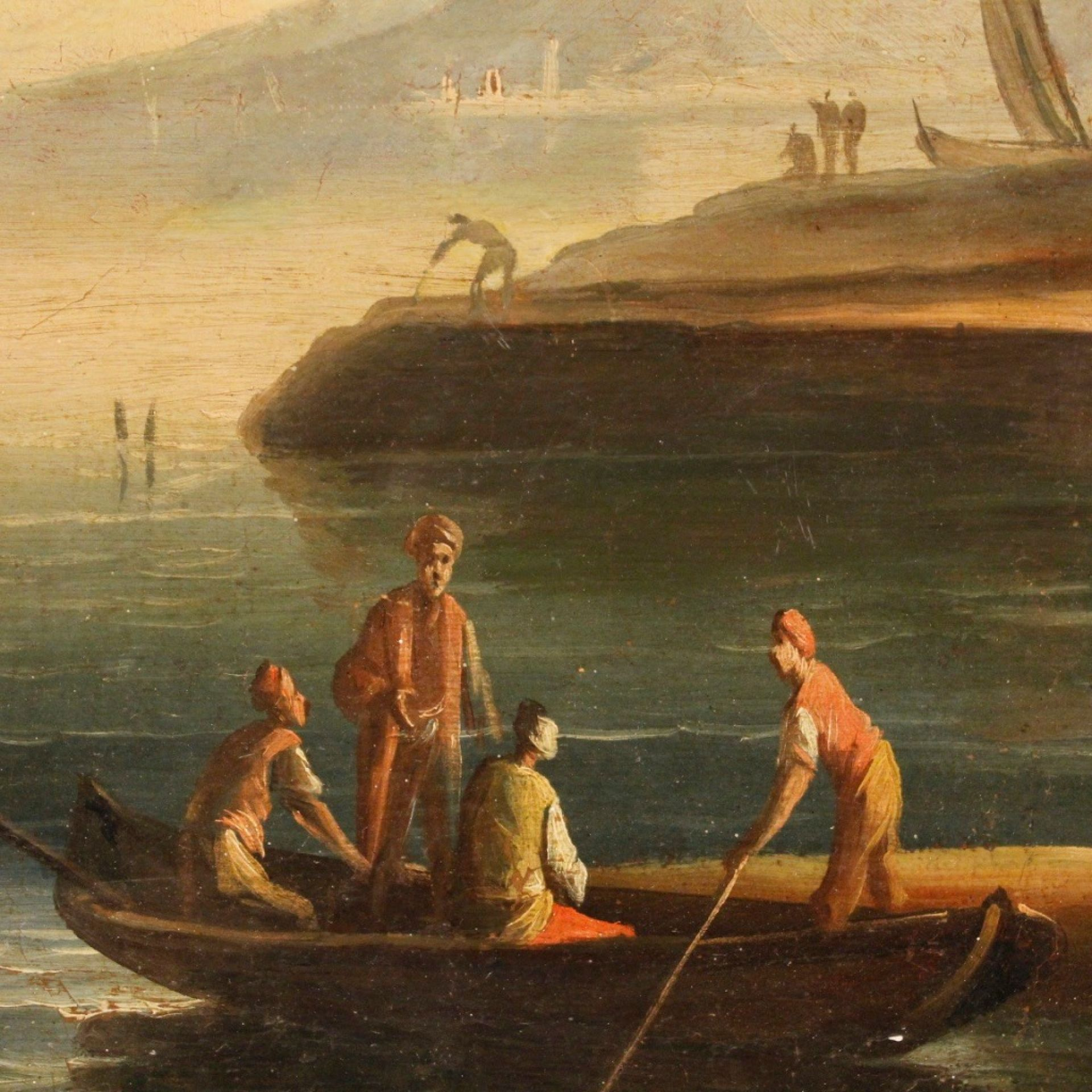 18th Century Oil on Canvas Italian Seascapes Pair of Paintings, 1780