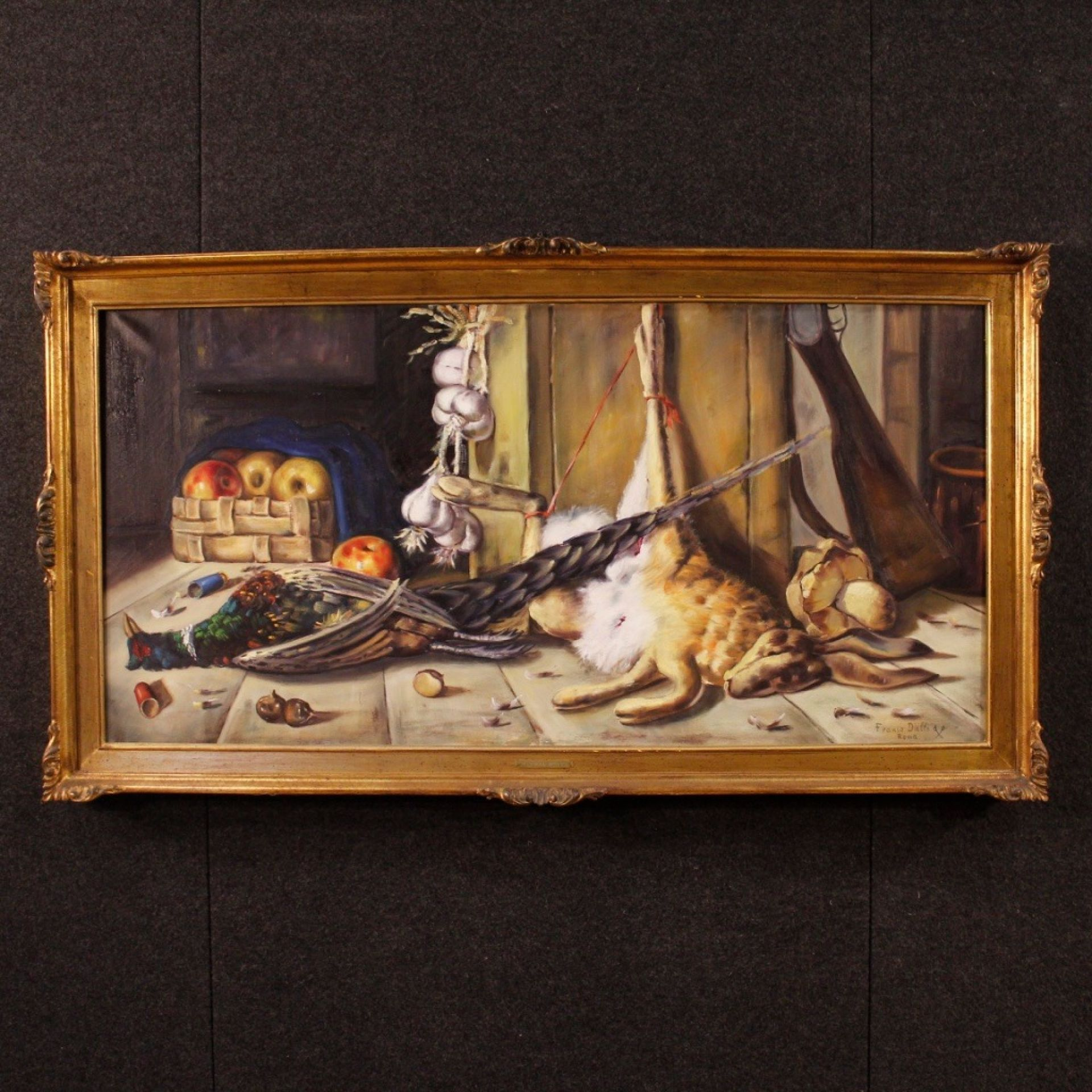 Franco Dalle Spade Signed 20th Century Oil on Canvas Italian Still Life Painting