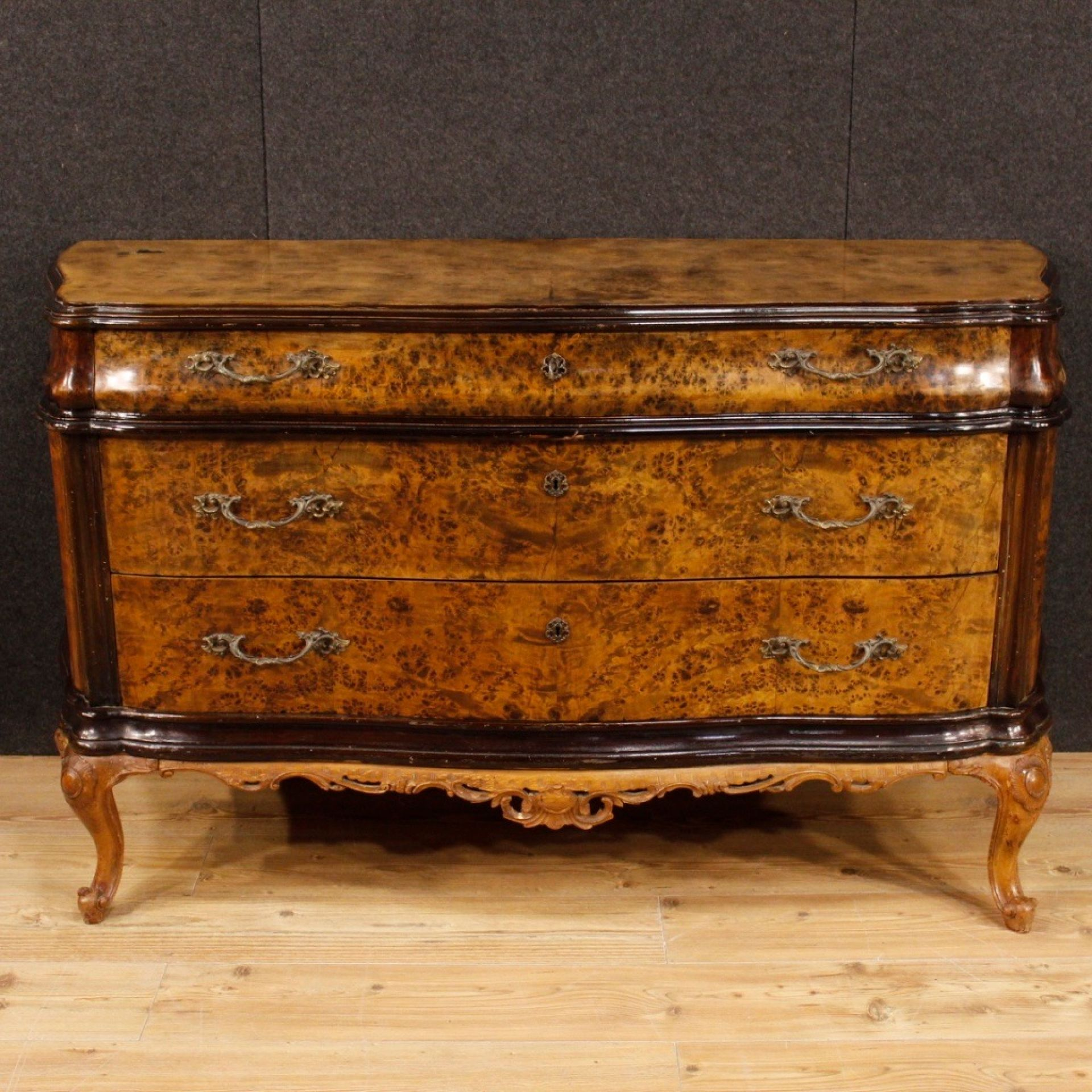 20th Century Burl, Beech And Wood Italian Dresser With 3 Drawers, 1960