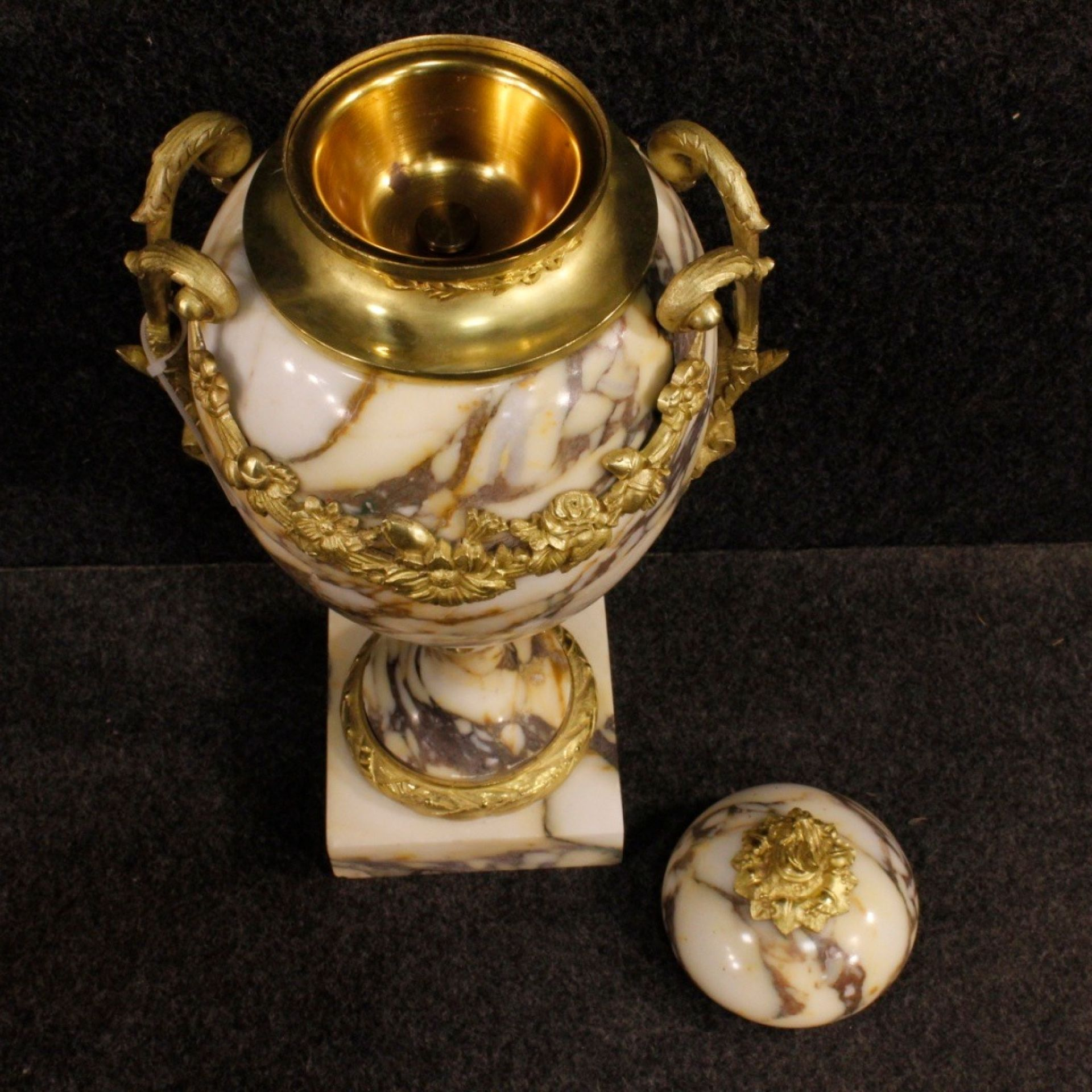 20th Century Marble, Gilt Bronze and Brass French Pair of Vases, 1950