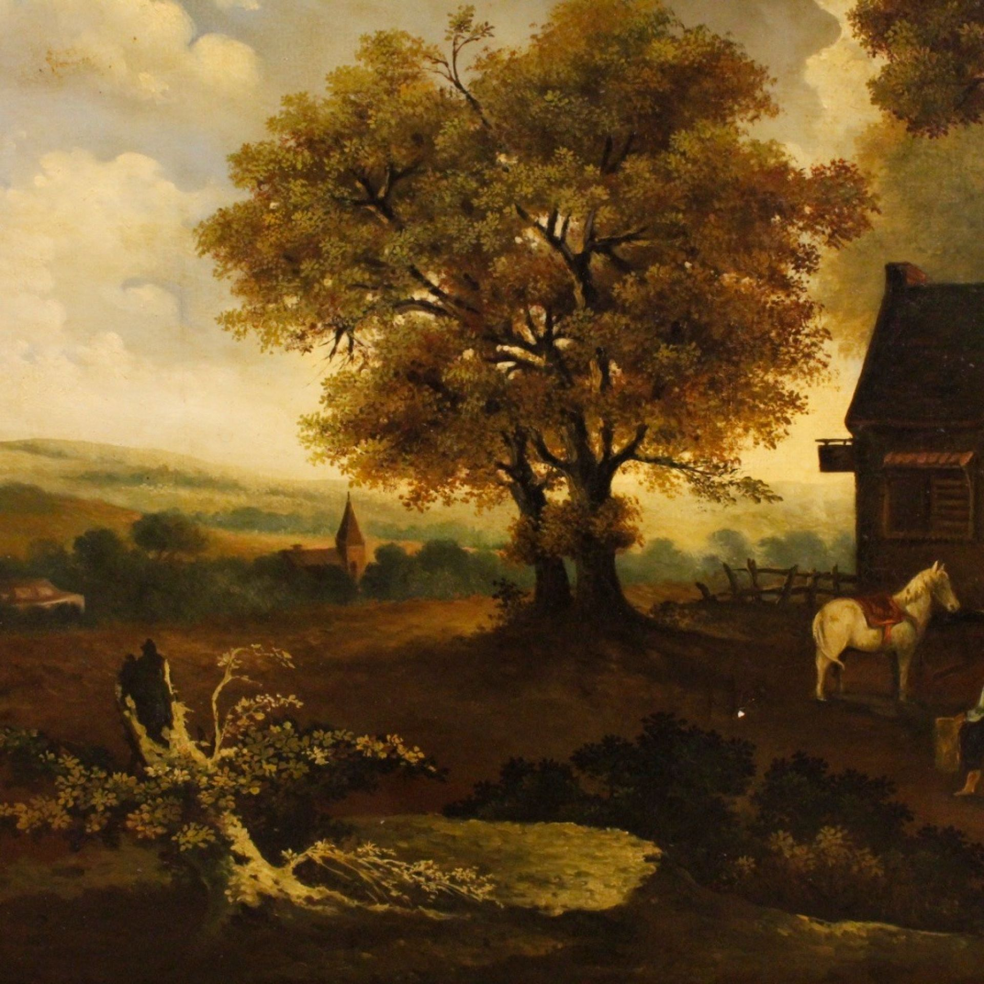19th Century Oil on Canvas Dutch Signed Landscape Painting, 1880