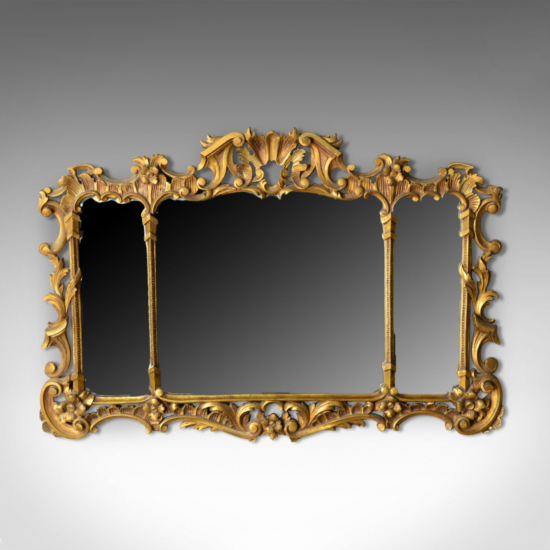 Antique Overmantel Mirror, English, Regency Revival, Giltwood, Triptych c.1900