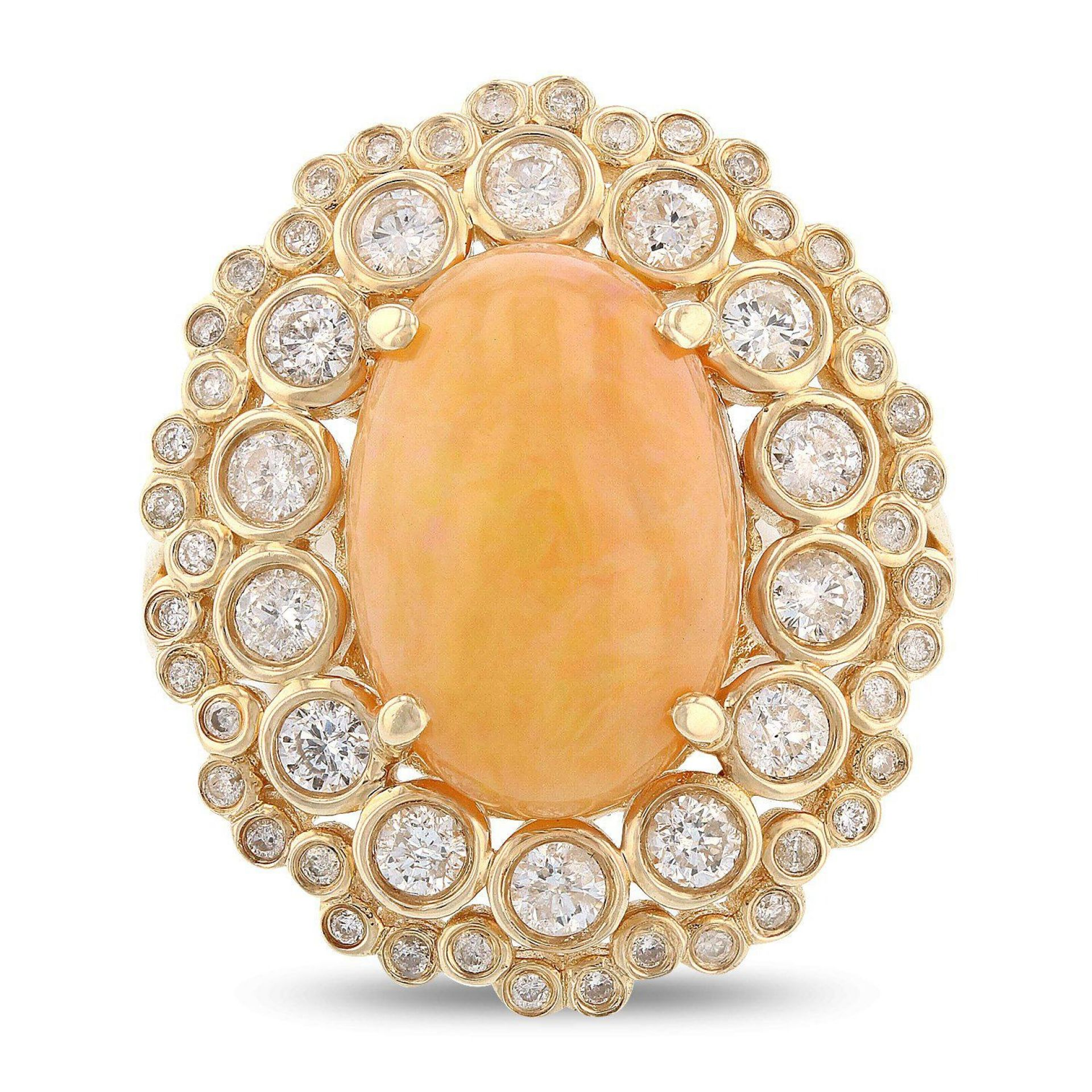 4.60ct Opal and 1.04ctw Diamond 14KT Yellow Gold Ring