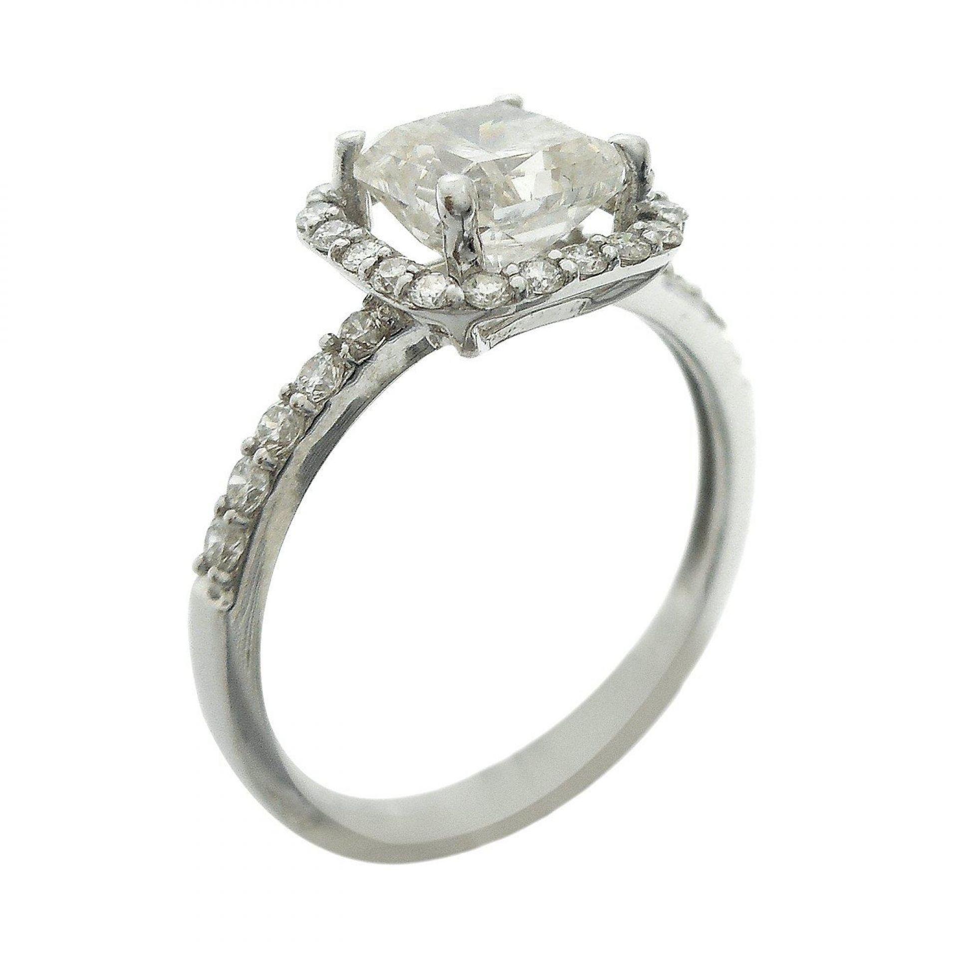 1.51ct CENTER Radiant Cut Diamond 18KT White Gold Ring (1.90ctw Diamonds)