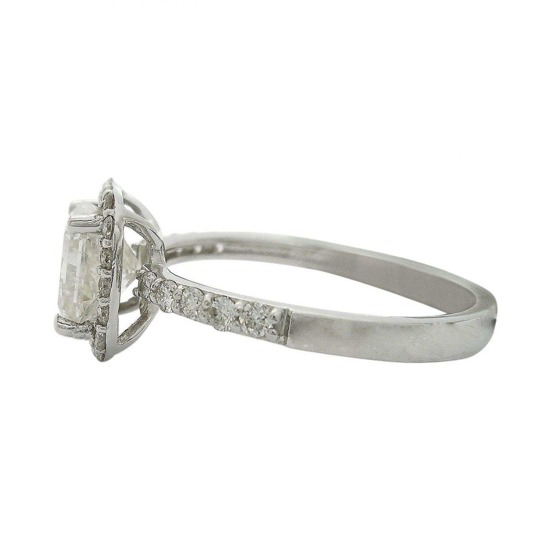 1.51ct CENTER Radiant Cut Diamond 18KT White Gold Ring (1.90ctw Diamonds)