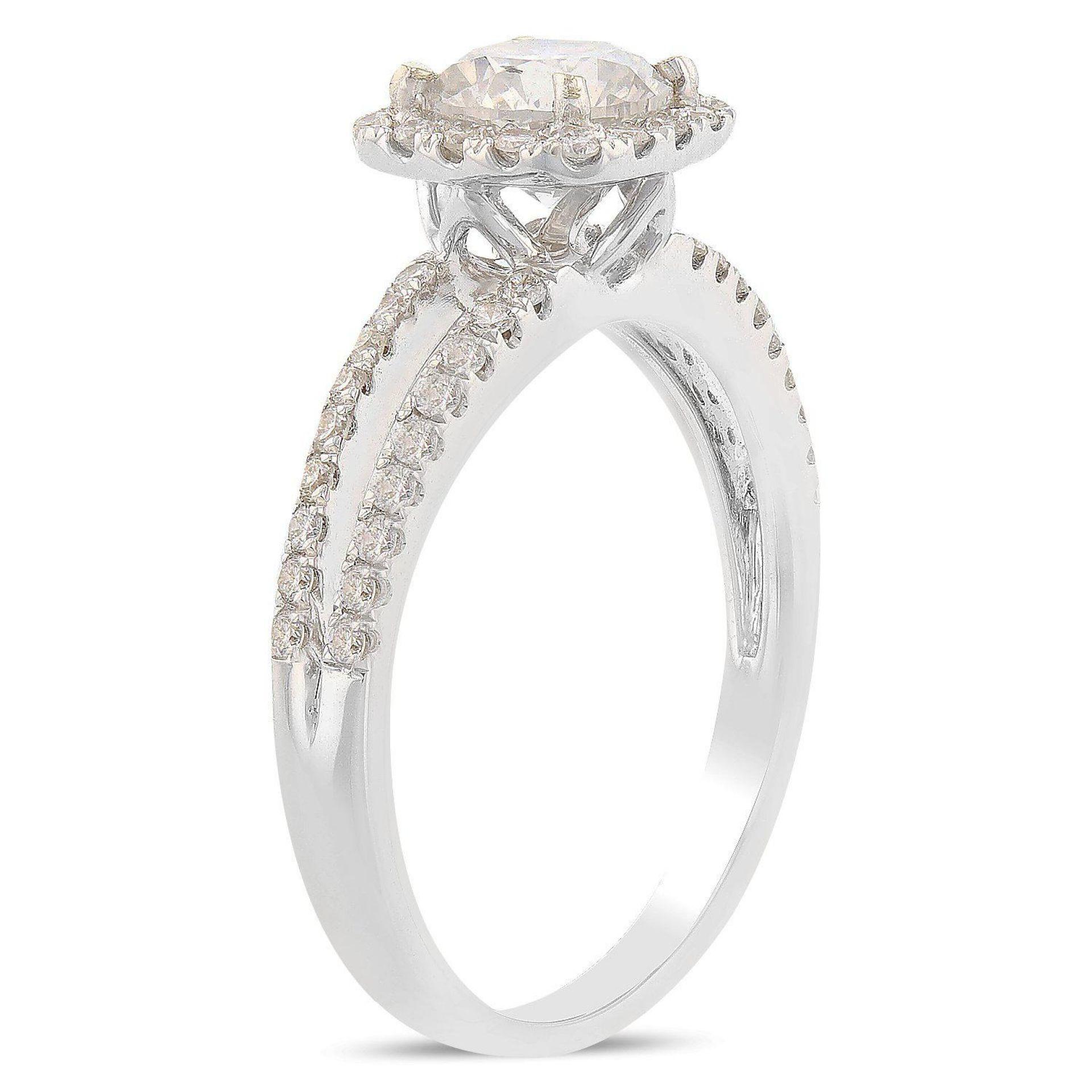 0.92ct SI2 CLARITY CENTER Diamond 18KT White Gold Ring (1.25ctw Diamonds) EGL US