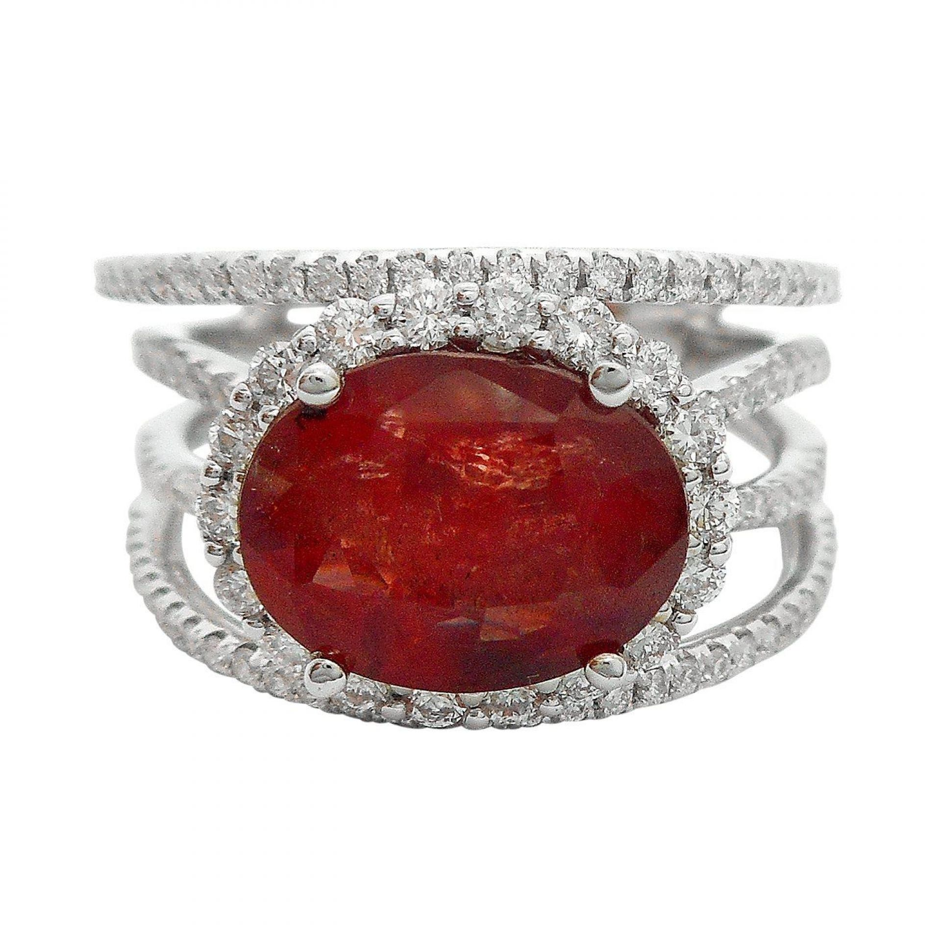 3.81ct UNHEATED Ruby and 0.77ctw Diamond 18KT White Gold Ring