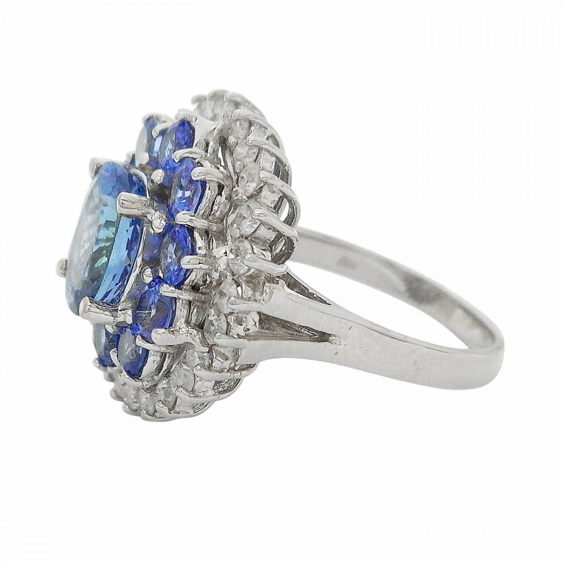 3.99ctw Tanzanite and 0.73ctw Diamond 14KT White Gold Ring
