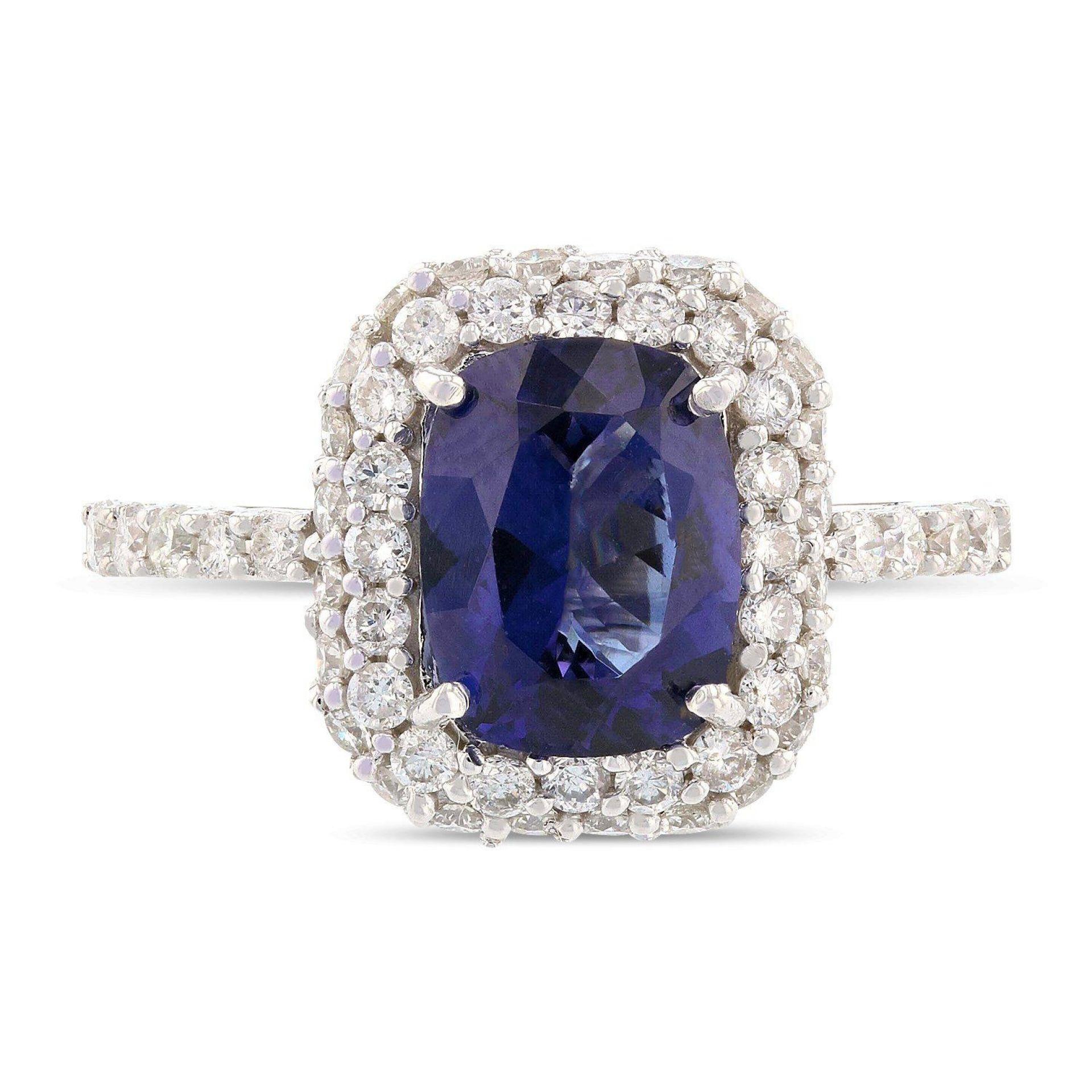 2.02ct Cobalt Coated Tanzanite and 0.85ctw Diamond 14KT White Gold Ring