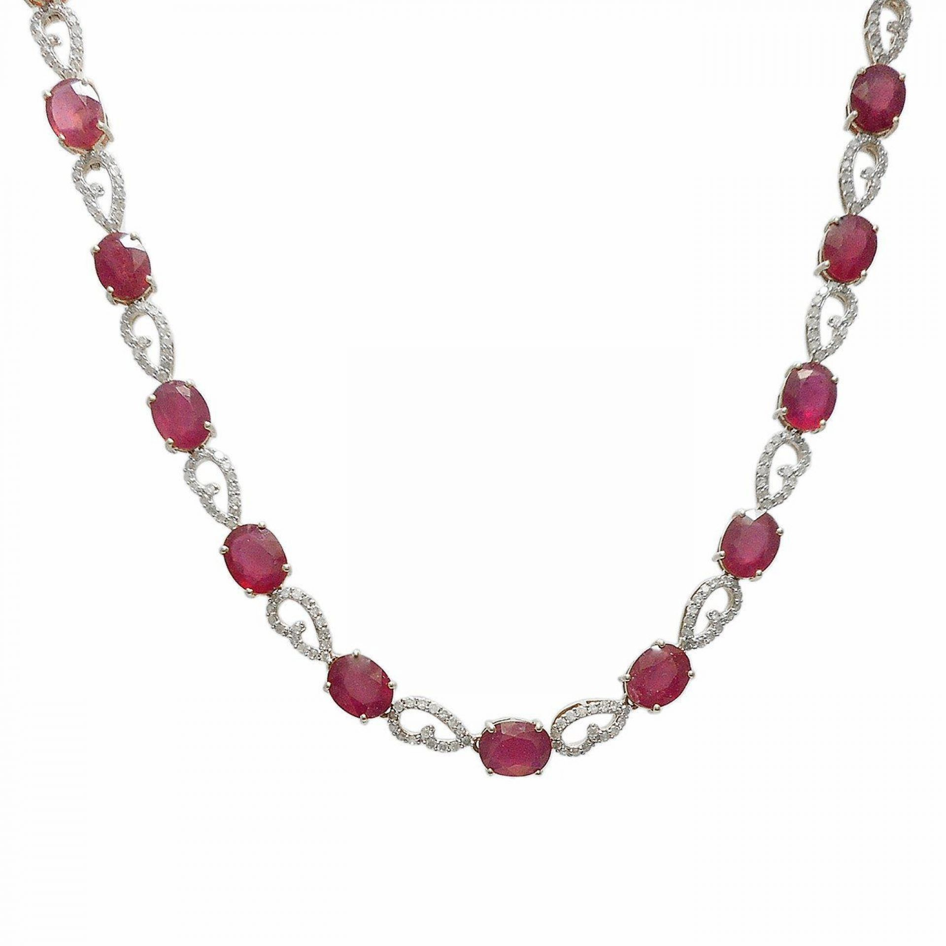 46.48ctw Ruby and 3.51ctw Diamond 14KT Yellow Gold Necklace